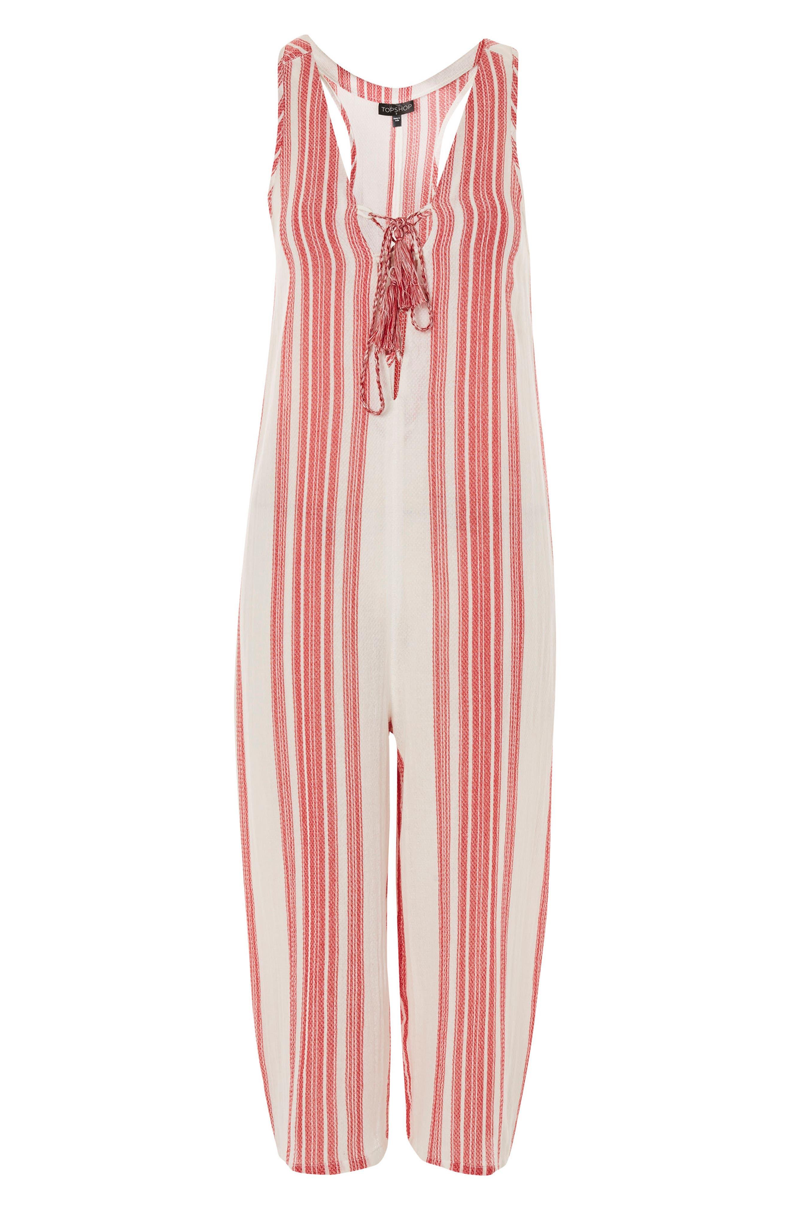 Stripe Jacquard Jumpsuit,                             Alternate thumbnail 4, color,                             Red Multi