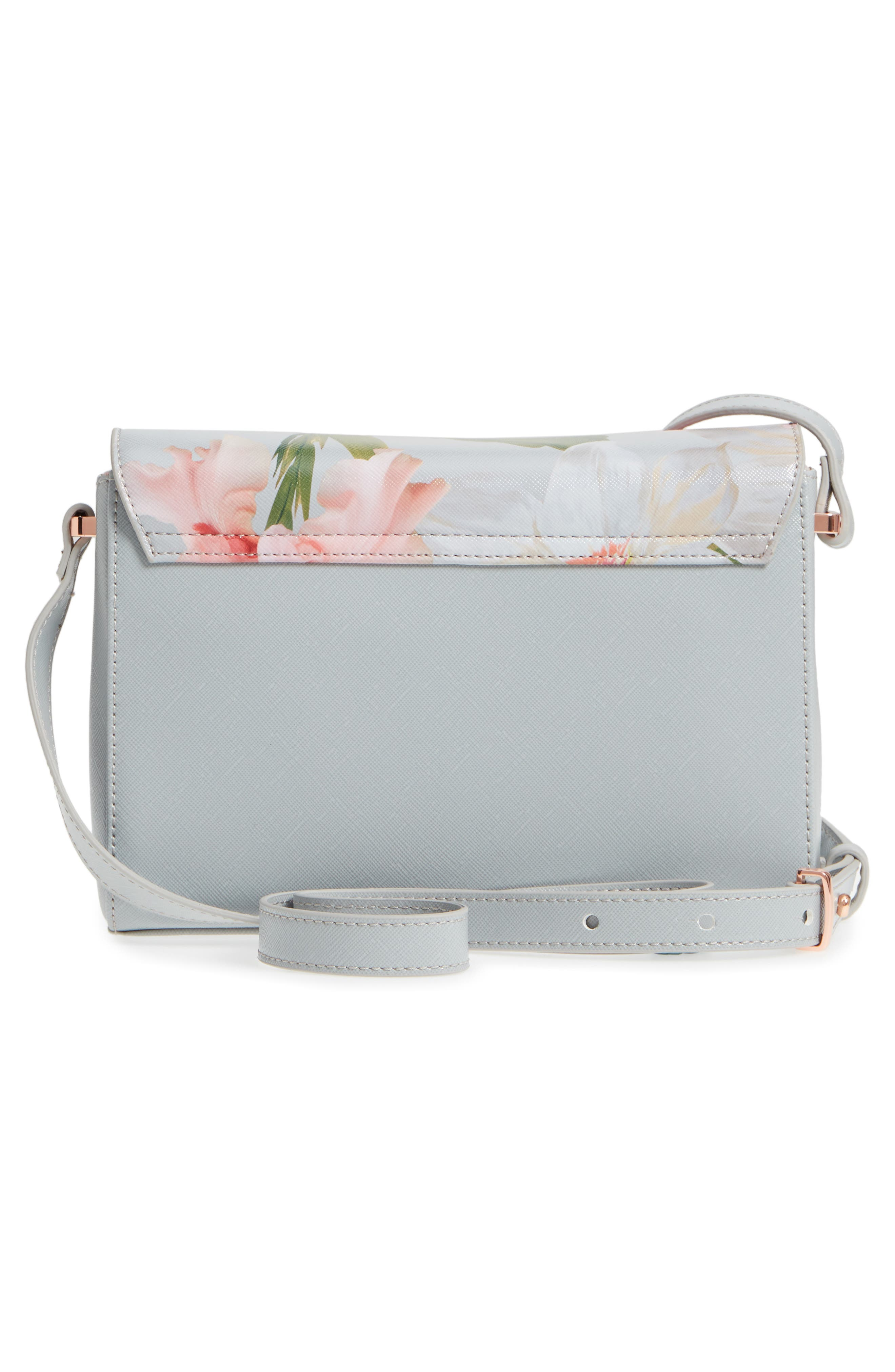 Prim Chatsworth Bloom Faux Leather Crossbody Bag,                             Alternate thumbnail 3, color,                             Mid Grey