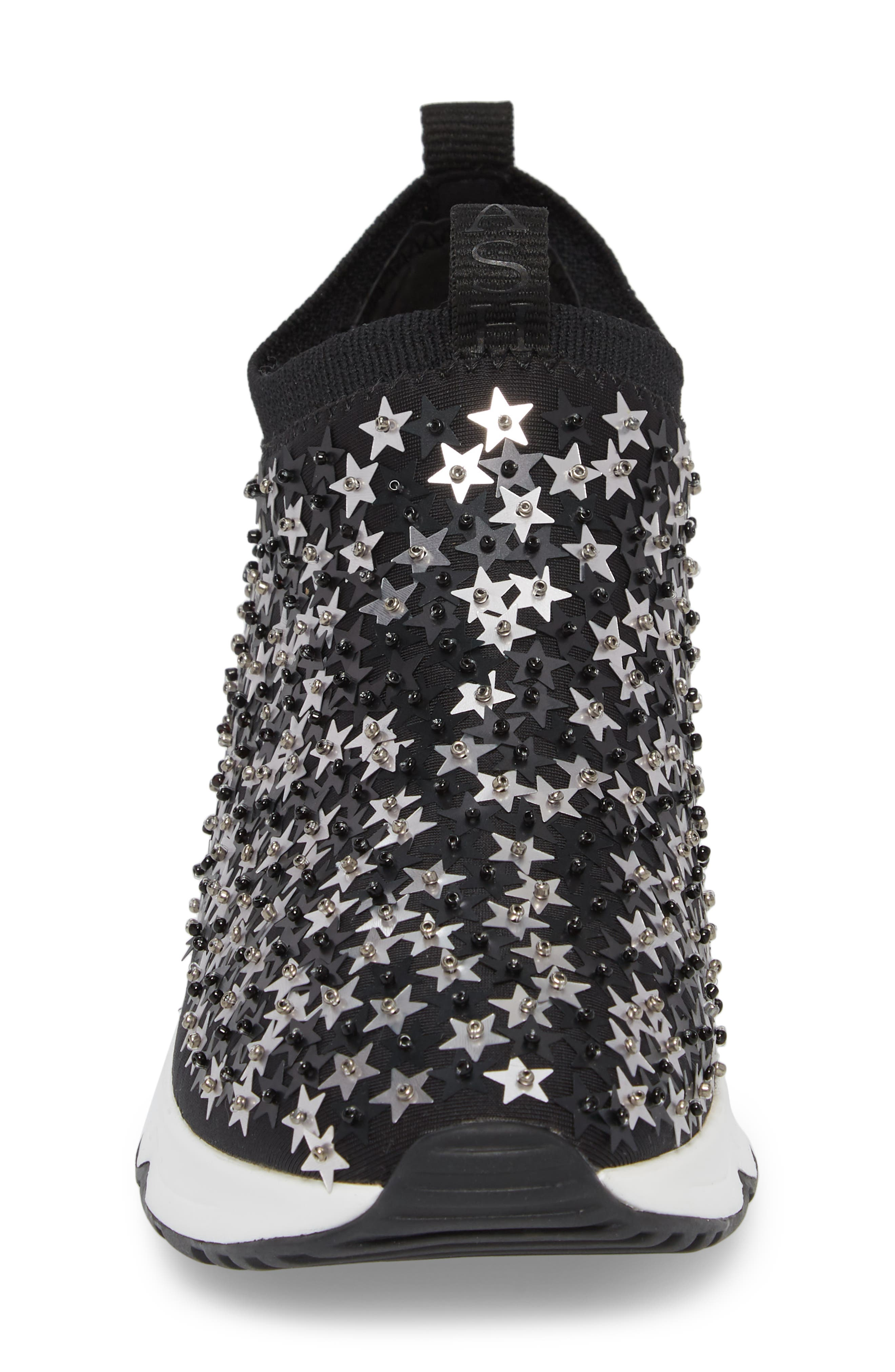 Lighting Star Platform Sock Sneaker,                             Alternate thumbnail 4, color,                             Black/ Silver