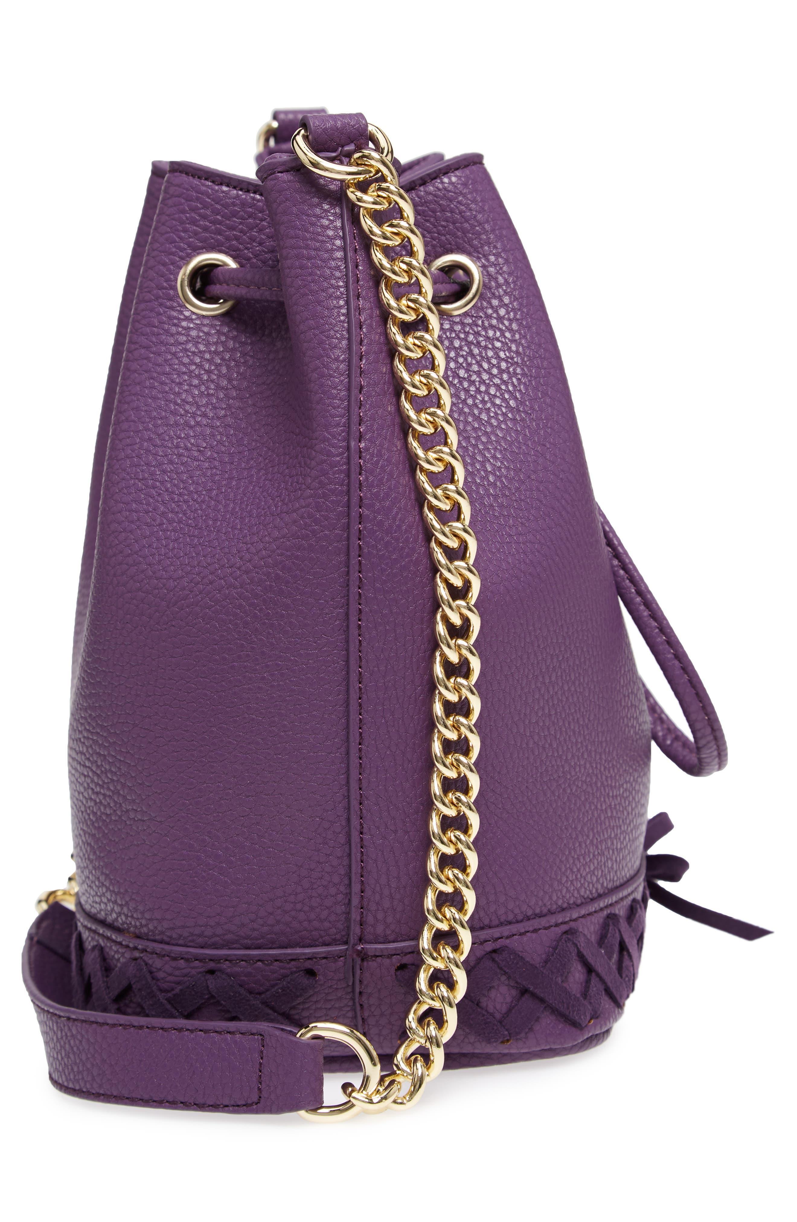 Veronica Faux Leather Bucket Bag,                             Alternate thumbnail 5, color,                             Purple