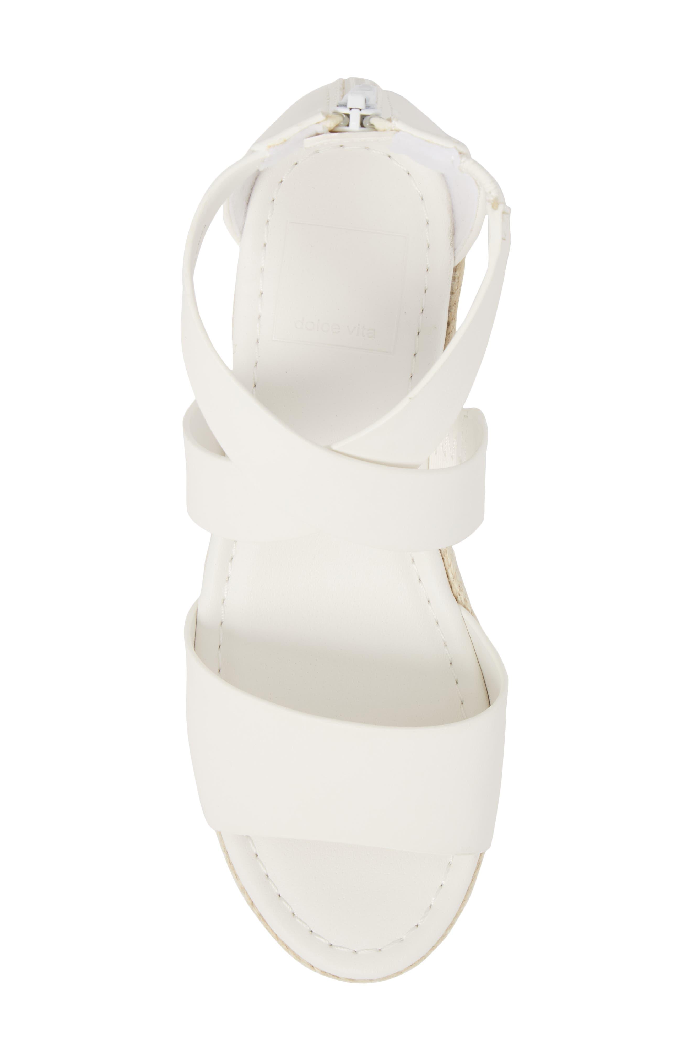 Wilma Platform Wedge Sandal,                             Alternate thumbnail 5, color,                             White