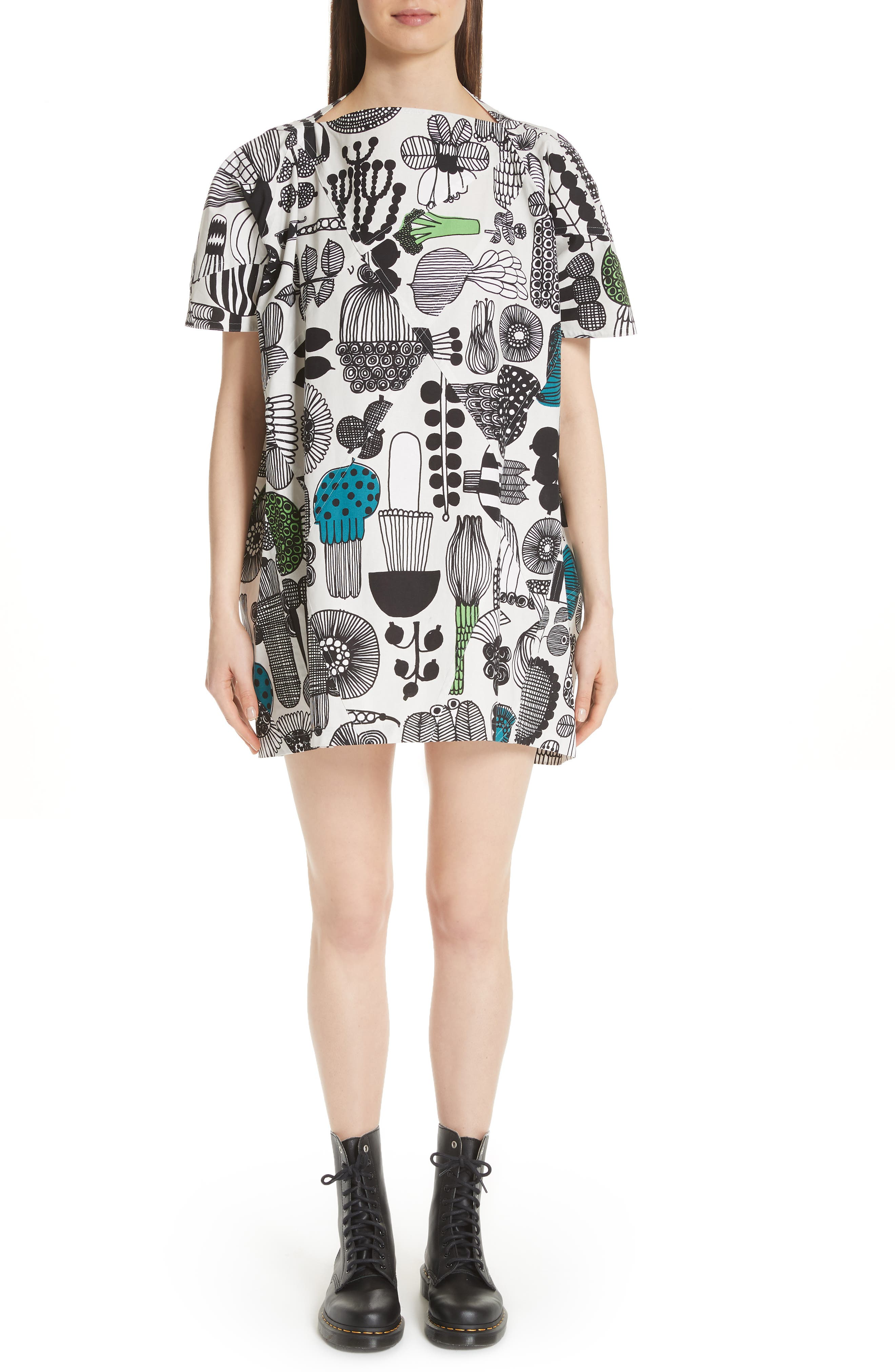 Vegetable Print Dress,                         Main,                         color, Gry/ Grn/ Blk