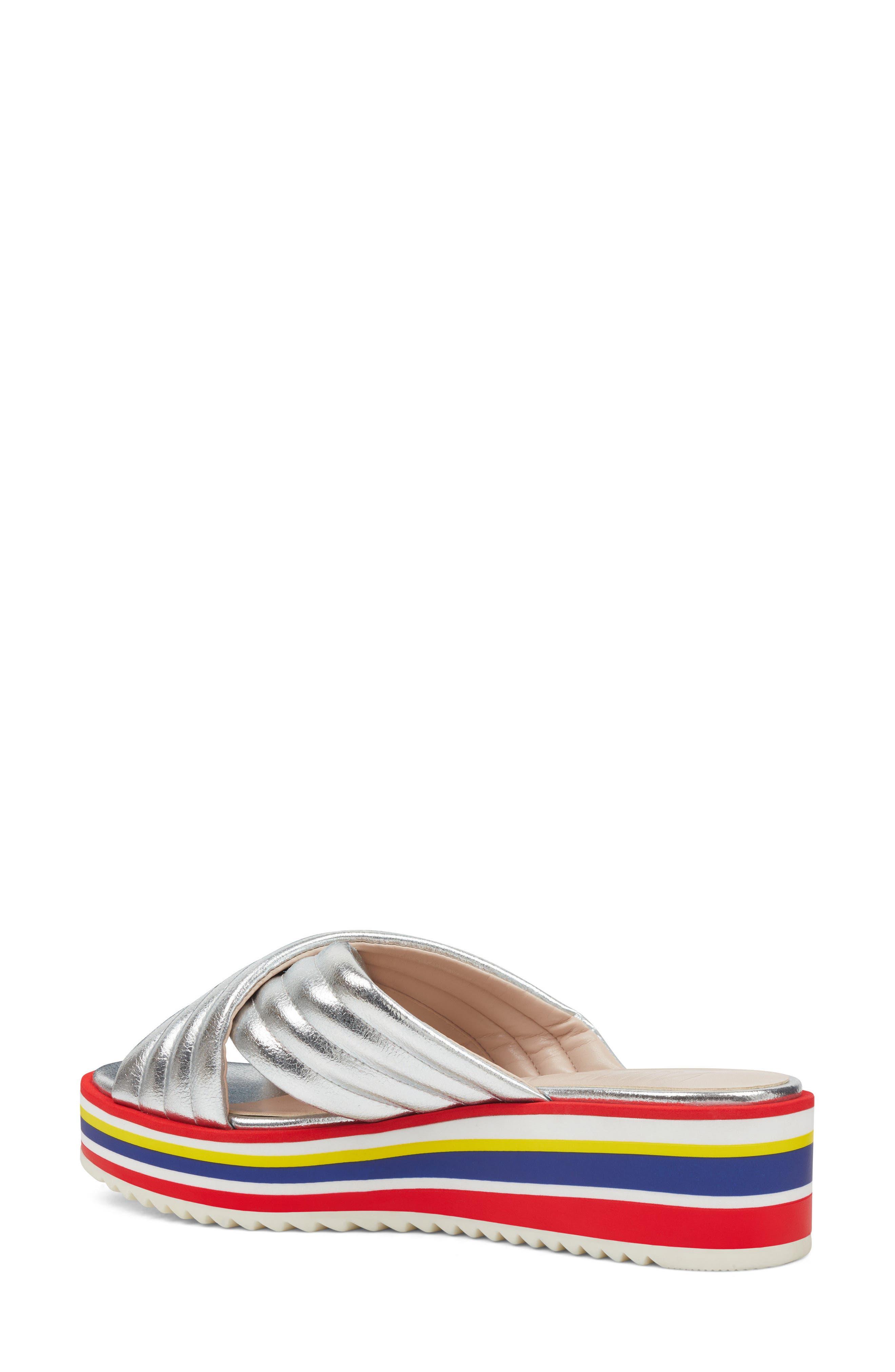 Zonita Platform Slide Sandal,                             Alternate thumbnail 2, color,                             Silver Faux Leather