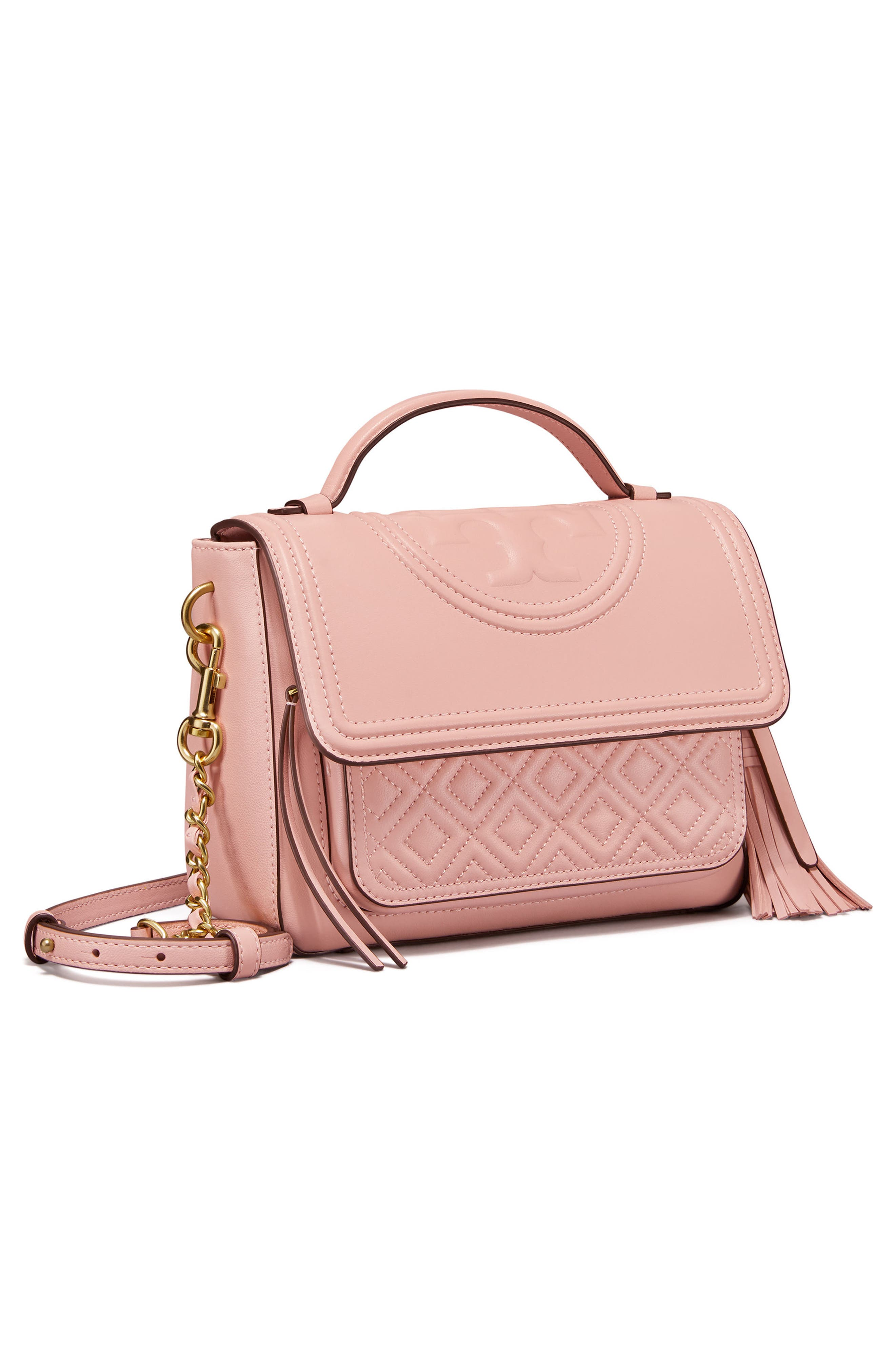 Fleming Quilted Leather Top Handle Satchel,                             Alternate thumbnail 3, color,                             Shell Pink