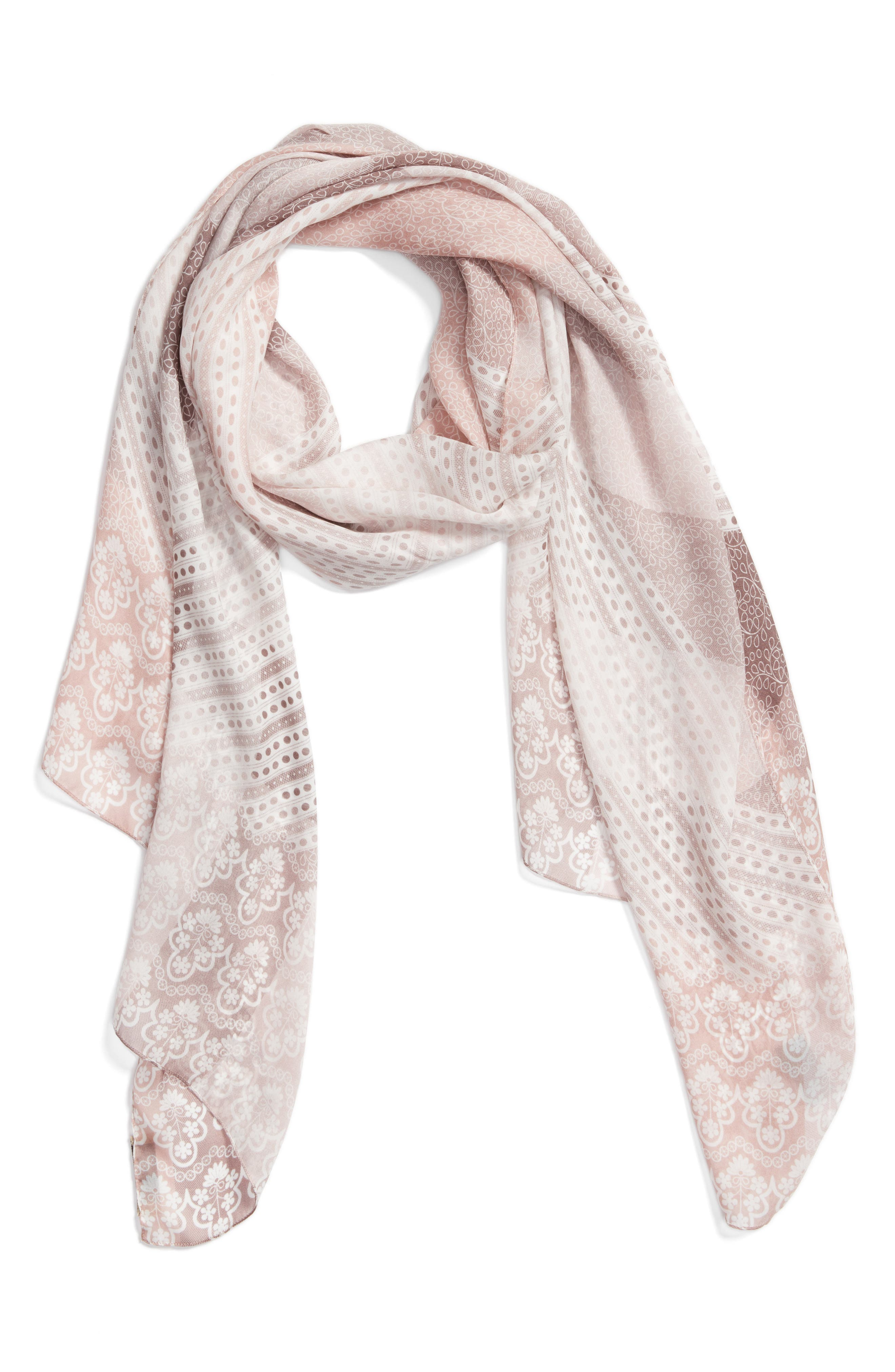 Ultra Mega Lace Silk Scarf,                         Main,                         color, Ash Rose Pink