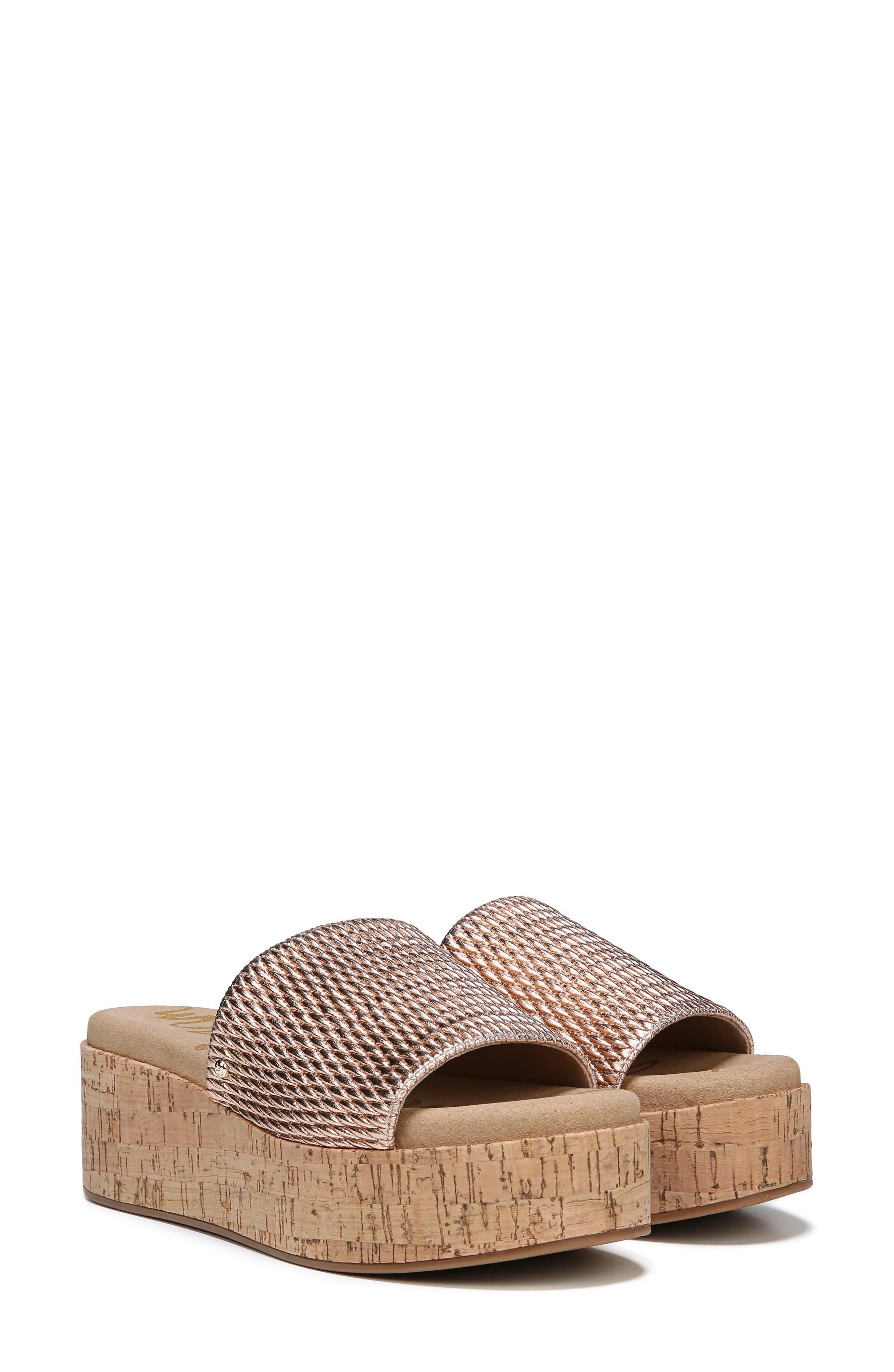 Wendi Platform Slide Sandal,                             Alternate thumbnail 8, color,                             Blush Gold Metallic Fabric