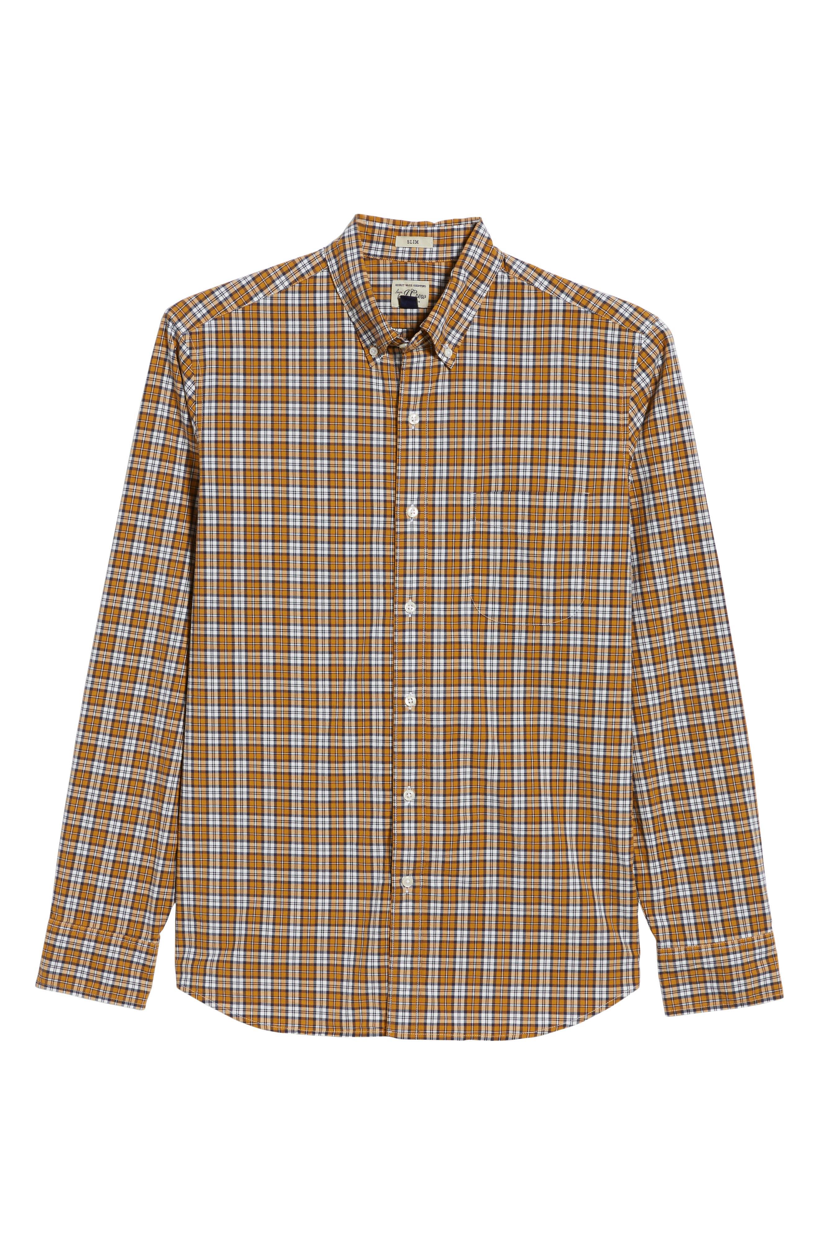 J.Crew Slim Fit Stretch Secret Wash Plaid Sport Shirt,                             Alternate thumbnail 6, color,                             Warm Cider