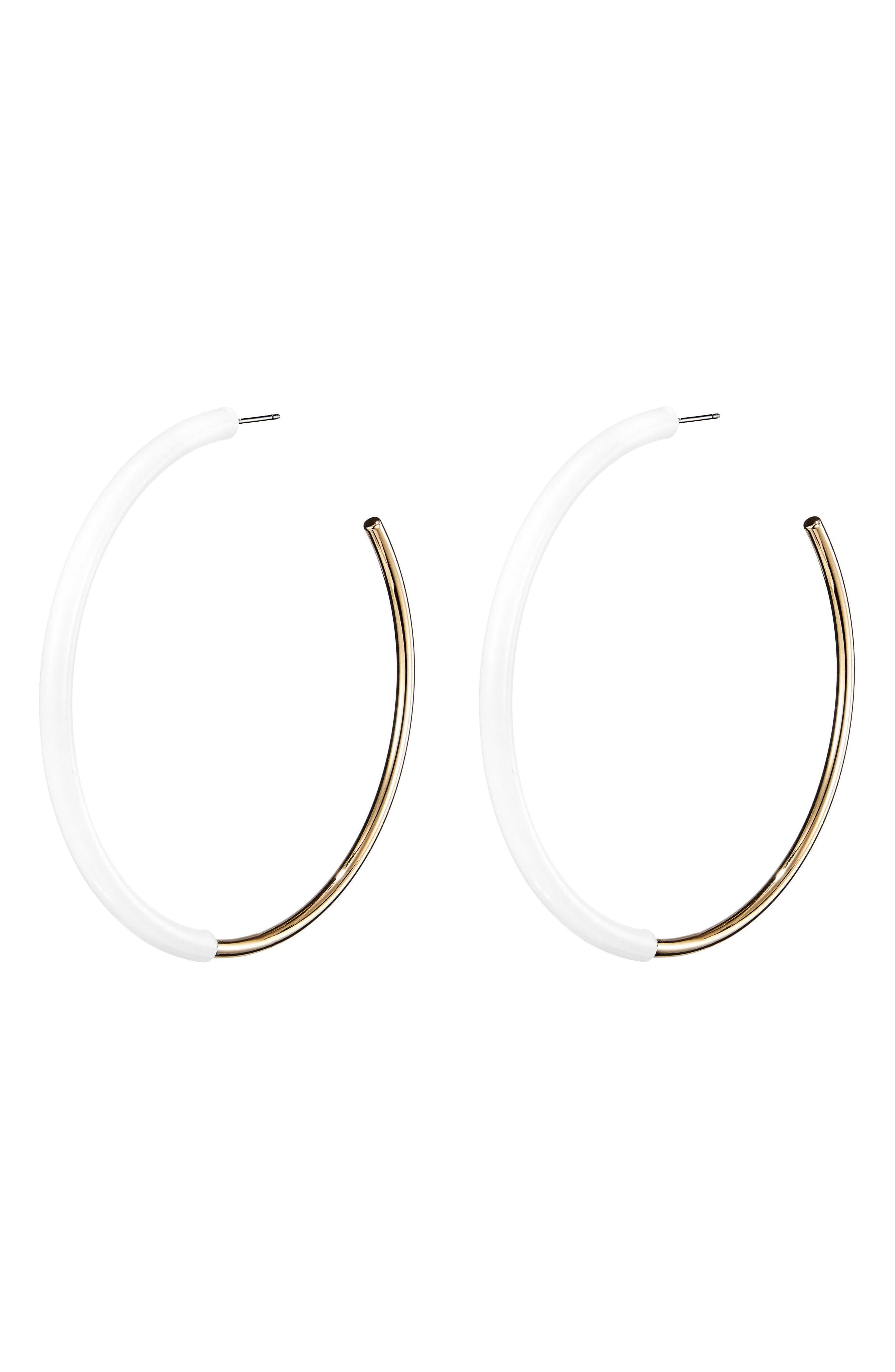 Lola Large Hoop Earrings,                             Alternate thumbnail 4, color,                             Gold/ White