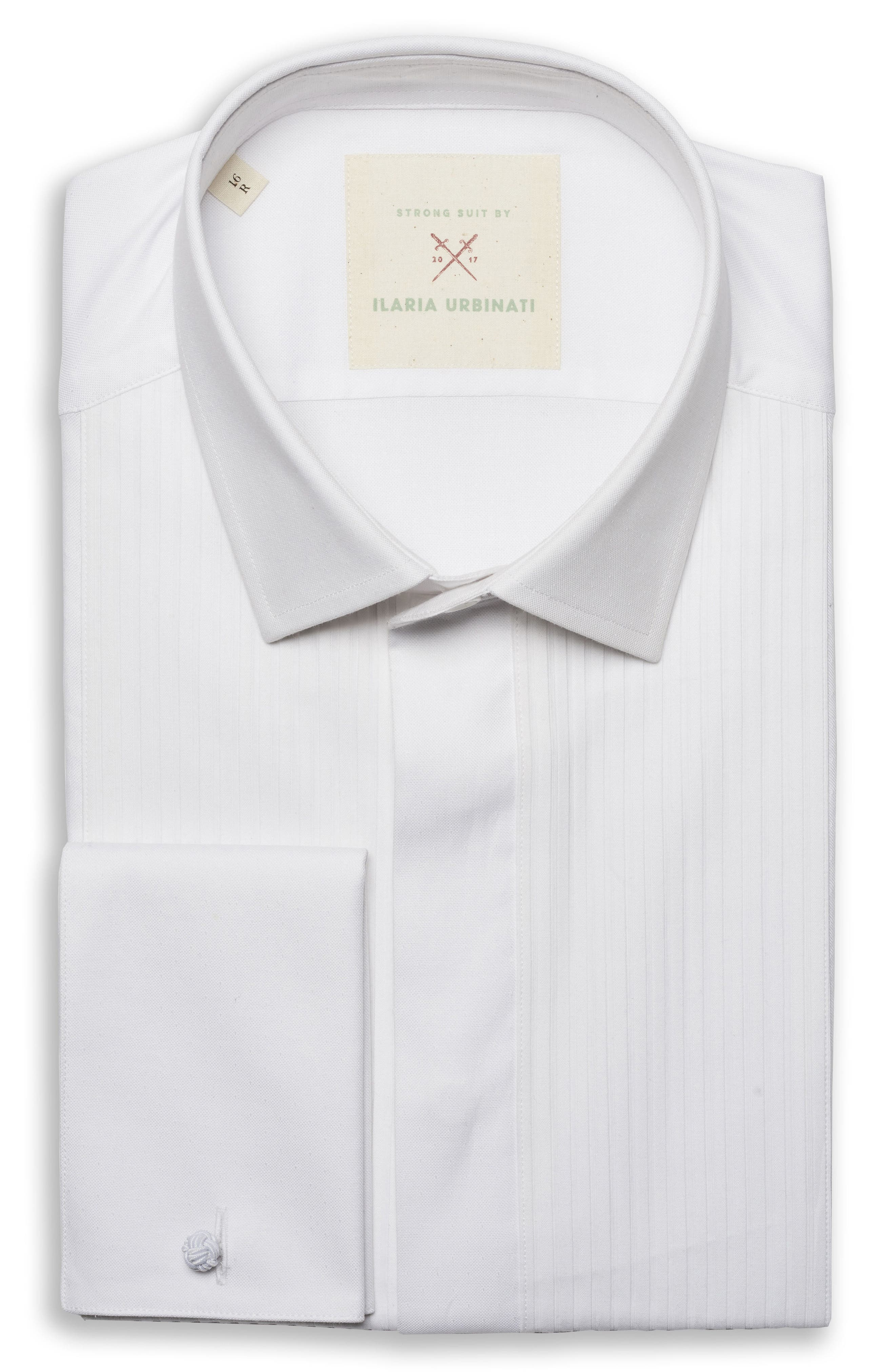 by Ilaria Urbinati Slim Fit Tuxedo Shirt,                             Main thumbnail 1, color,                             White