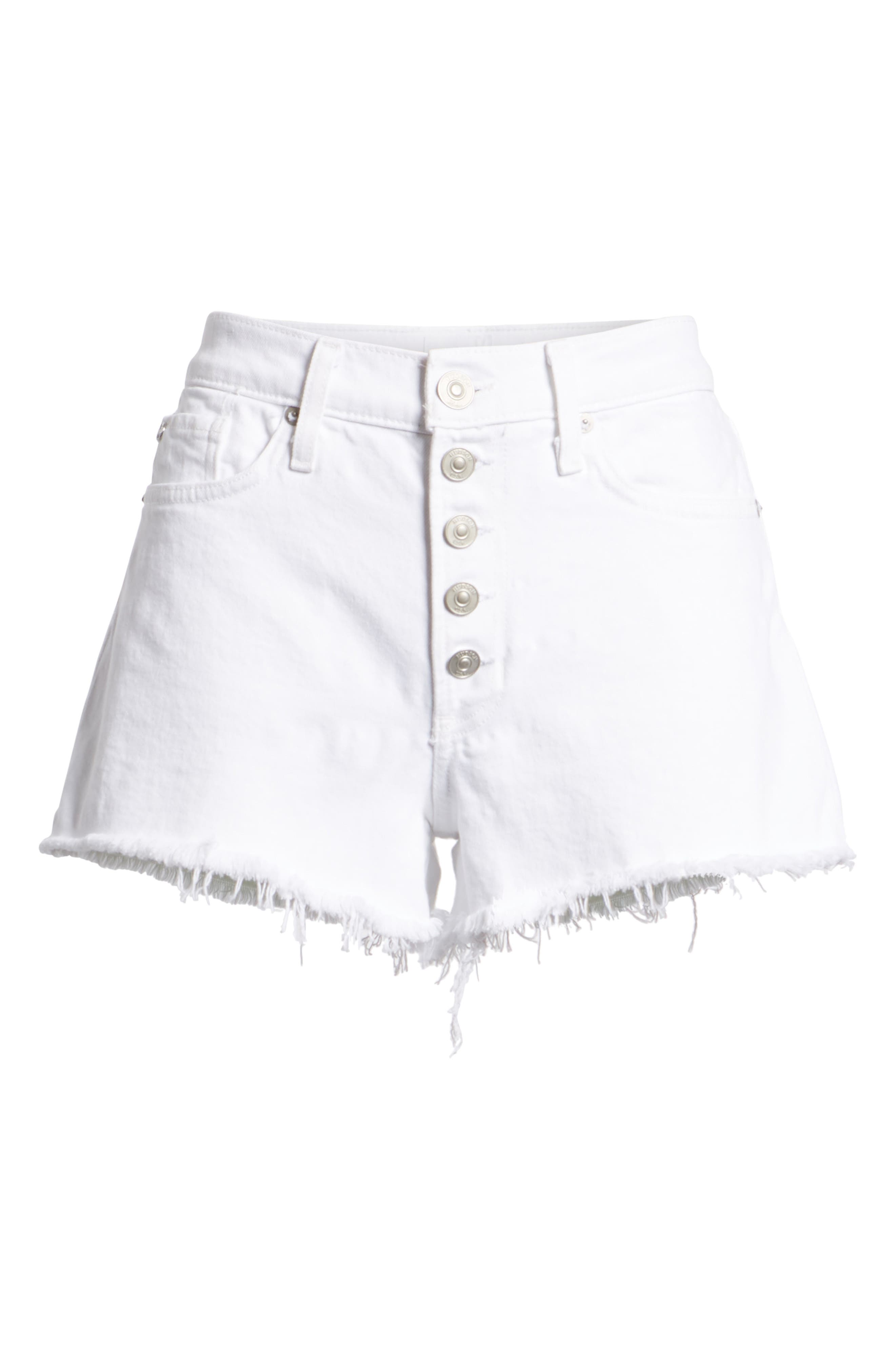 Zoeey Button Fly High Waist Denim Shorts,                             Alternate thumbnail 7, color,                             White