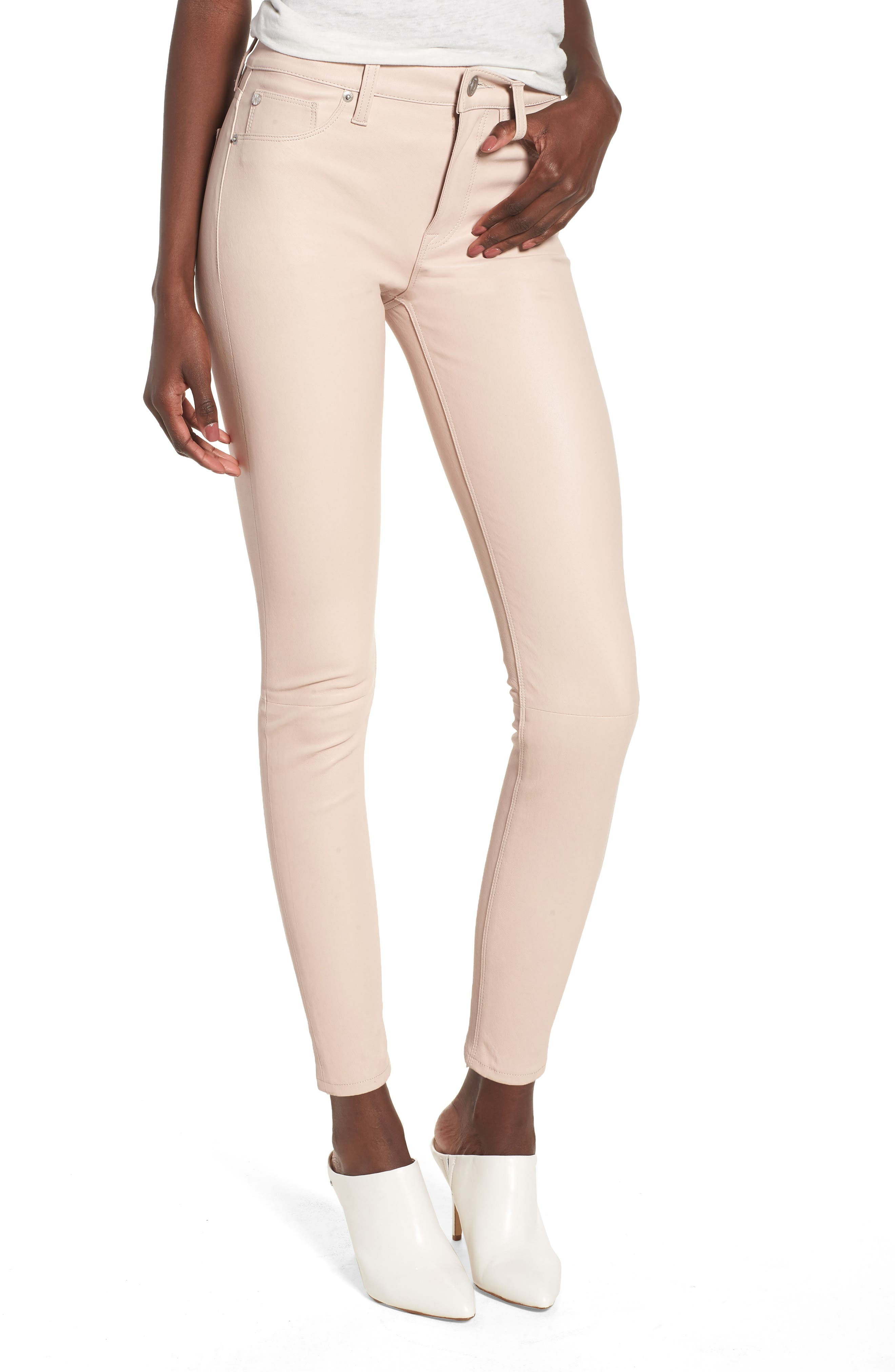 Barbara High Waist Ankle Skinny Leather Jeans,                             Main thumbnail 1, color,                             Blushing