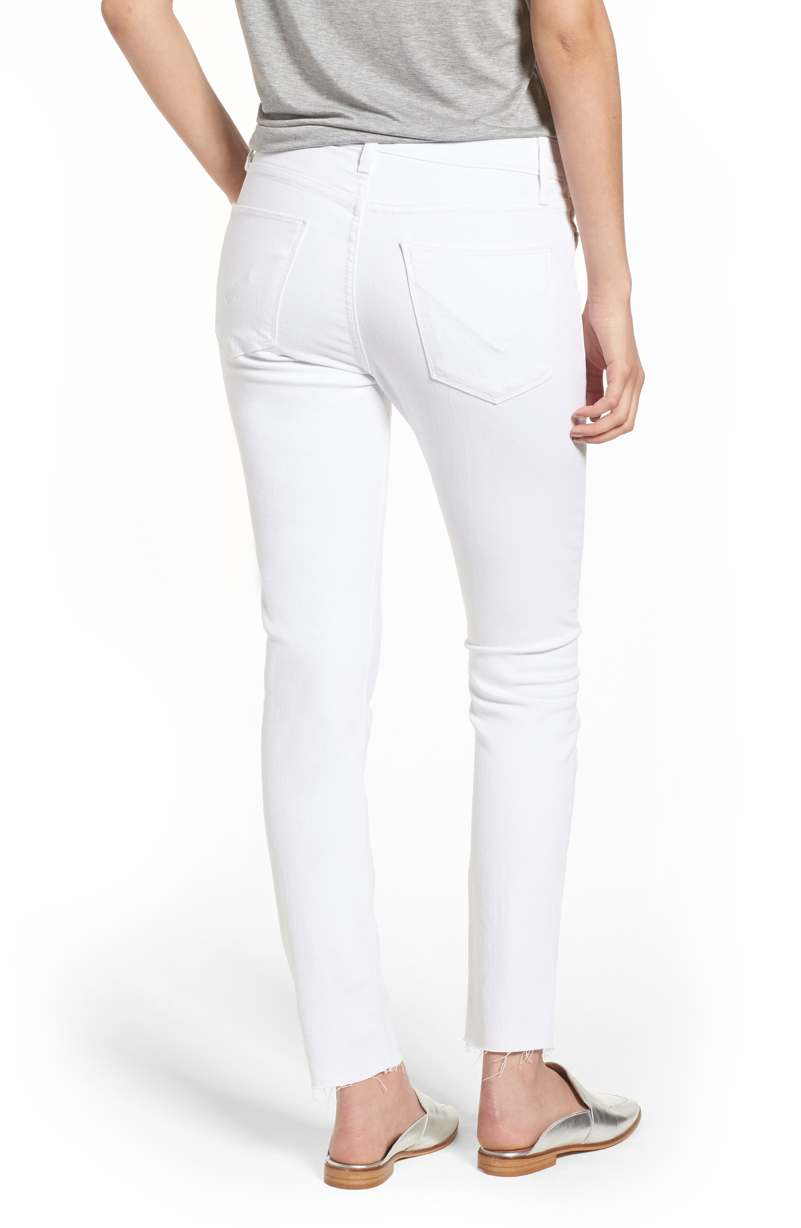Barbara High Waist Raw Hem Ankle Skinny Jeans,                             Alternate thumbnail 2, color,                             Optical White