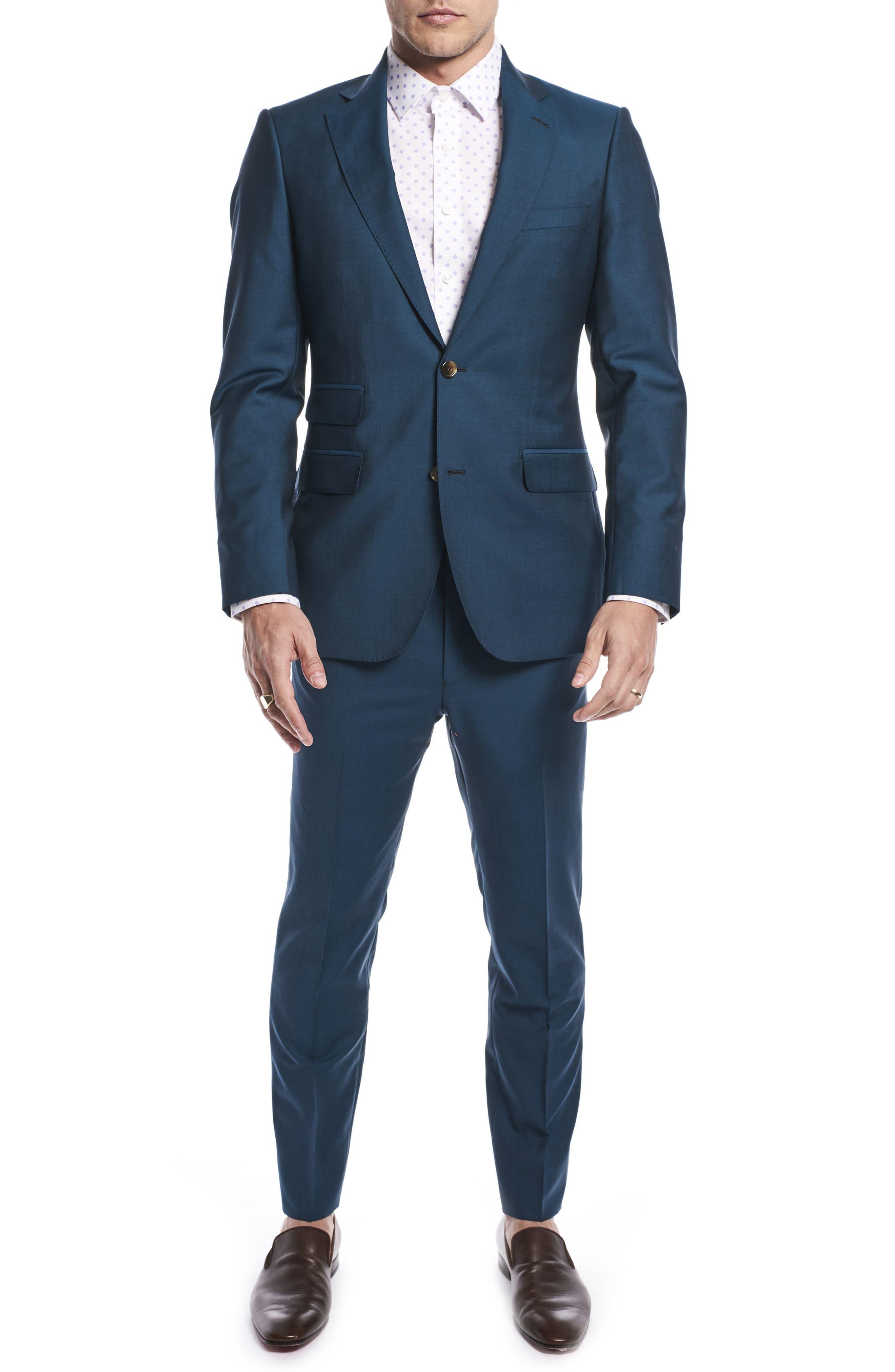 by Ilaria Urbinati Kilgore Slim Fit Solid Wool & Mohair Suit,                         Main,                         color, Blue Teal