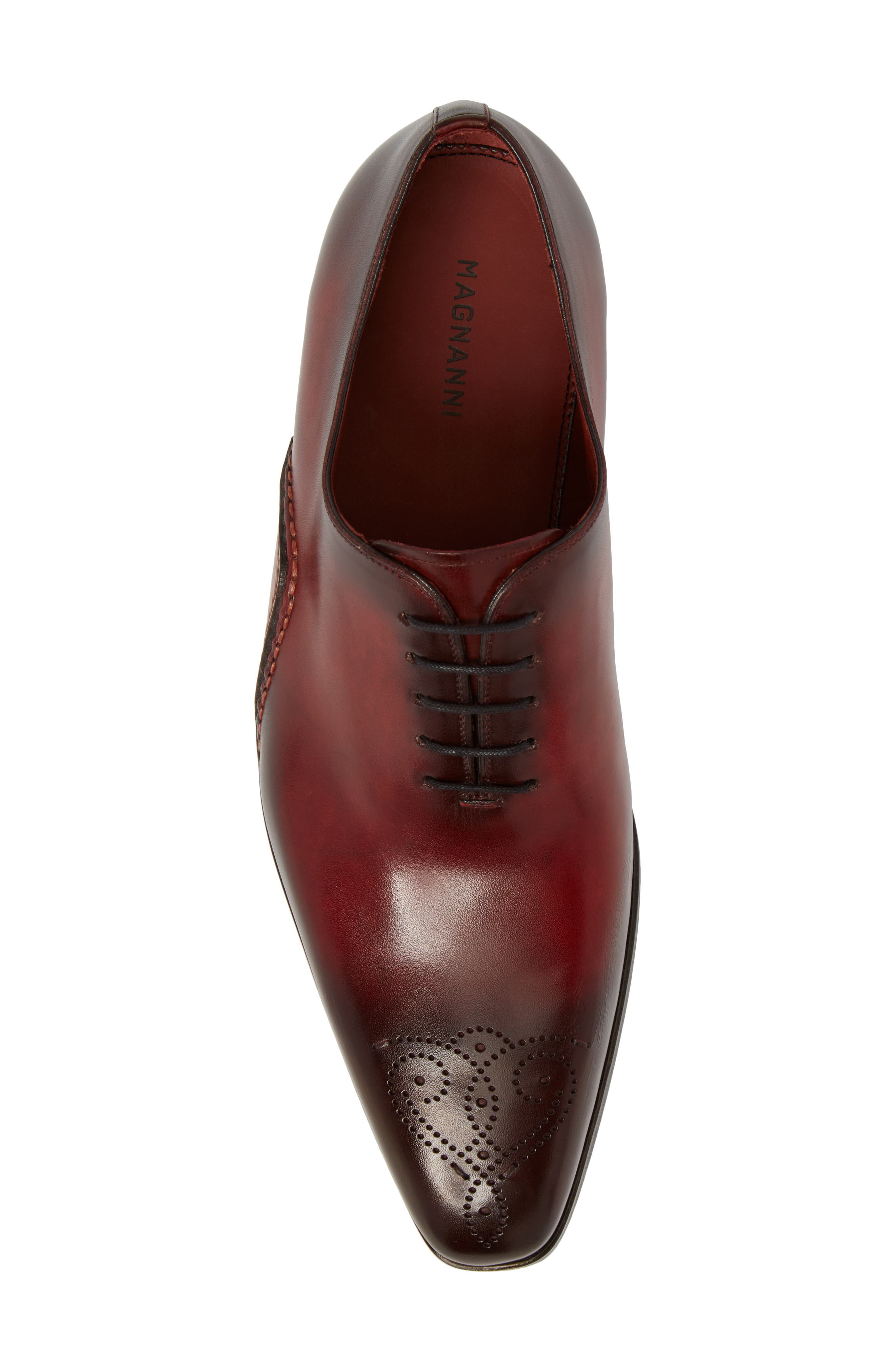 Vada Brogued Whole Cut Shoe,                             Alternate thumbnail 5, color,                             Red Leather
