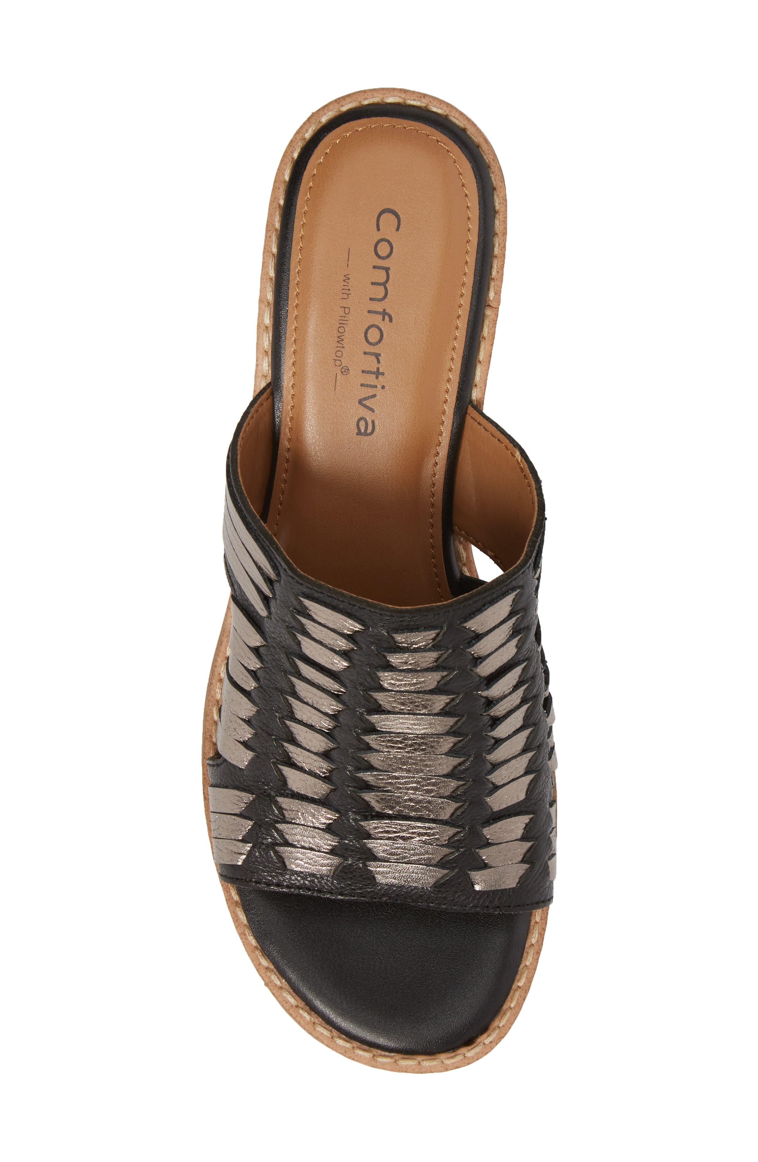 Brileigh Slide Sandal,                             Alternate thumbnail 5, color,                             Black Leather