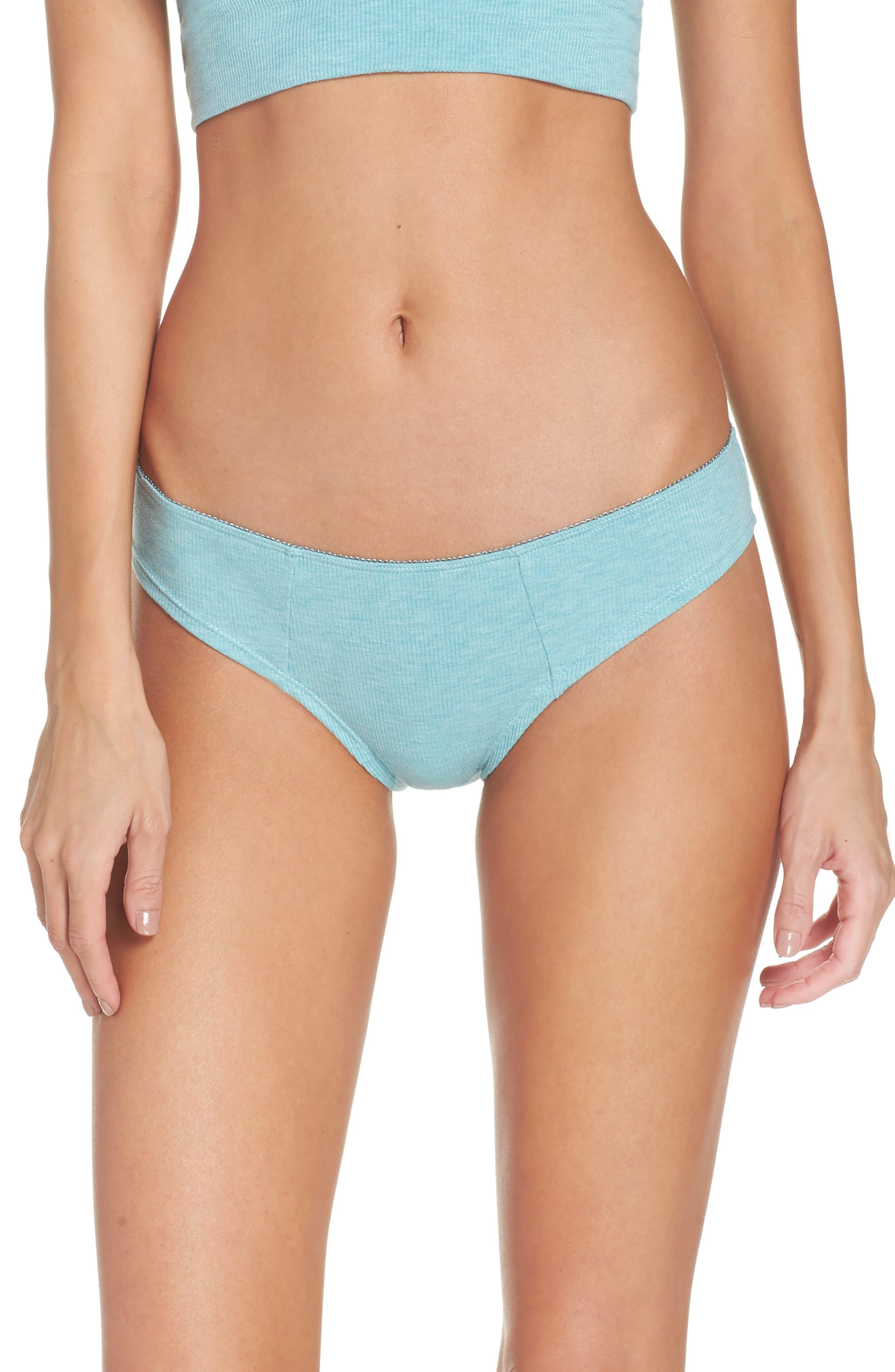 Rib Knit Bikini,                         Main,                         color, Prickly Pear