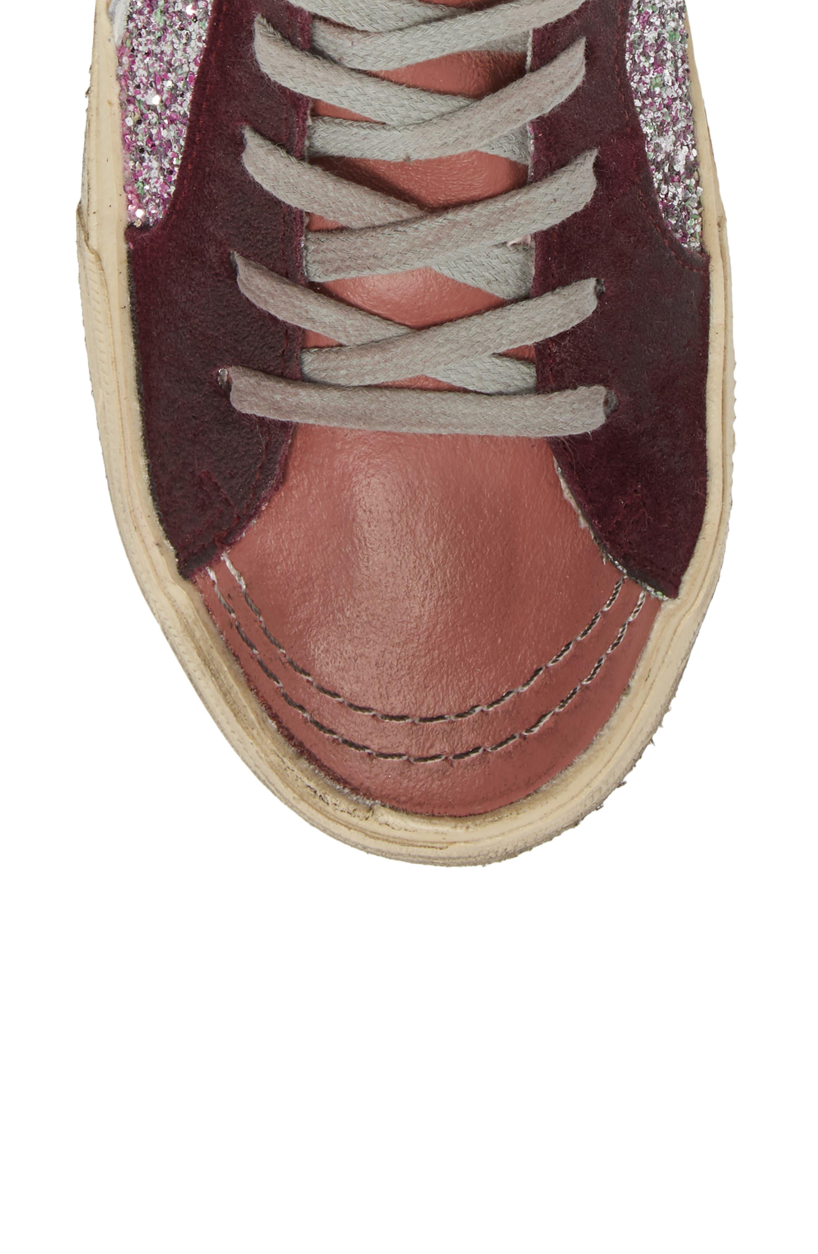 Slide High Top Sneaker,                             Alternate thumbnail 5, color,                             Bordeaux / Pink/ Gold