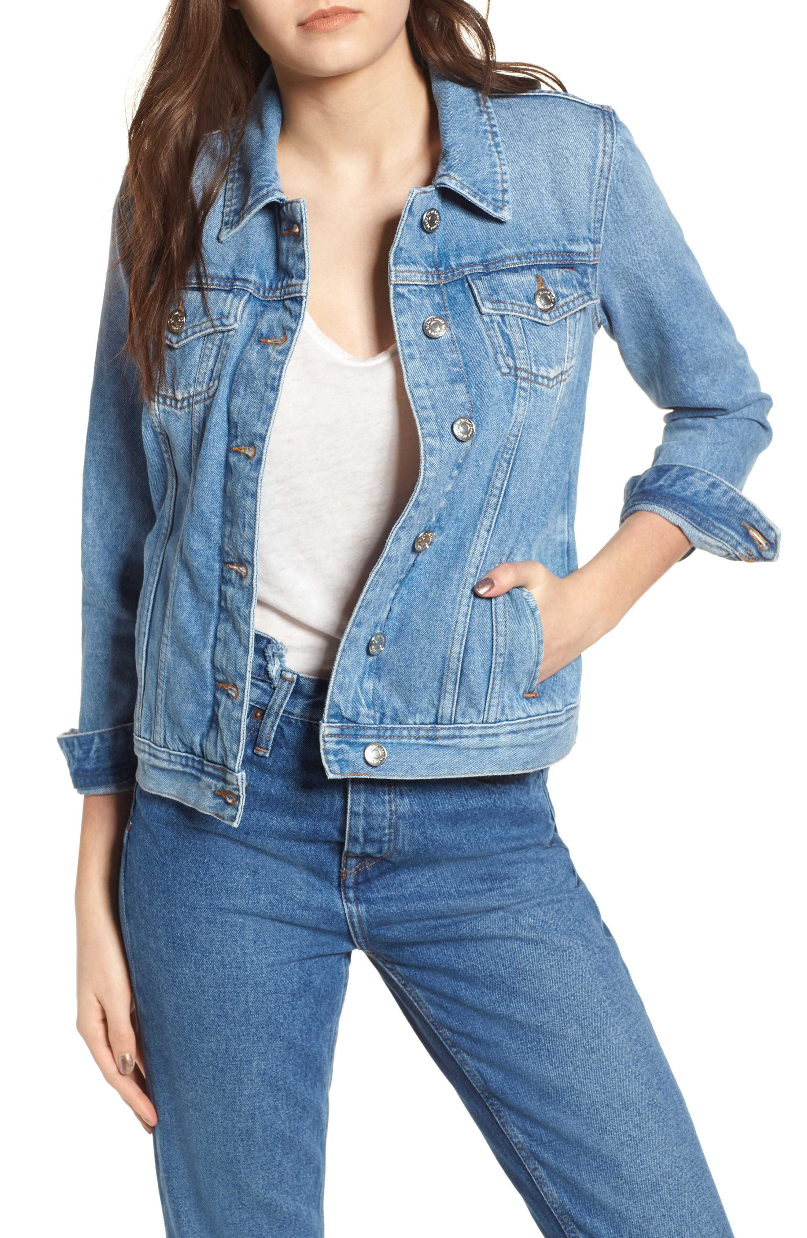Denim Trucker Jacket,                         Main,                         color, Tommy Jeans Light Blue Rigid