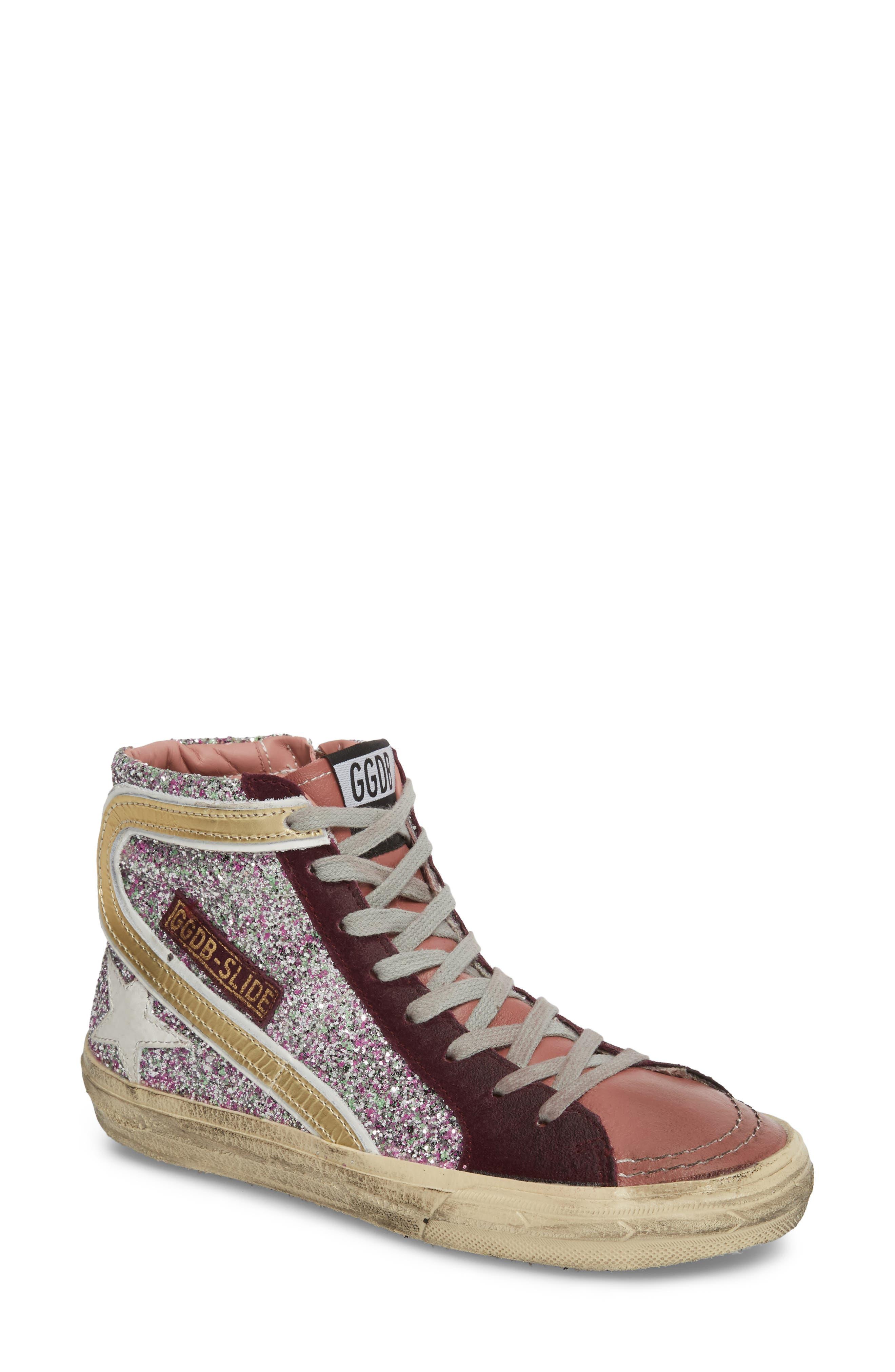 Slide High Top Sneaker,                             Main thumbnail 1, color,                             Bordeaux / Pink/ Gold