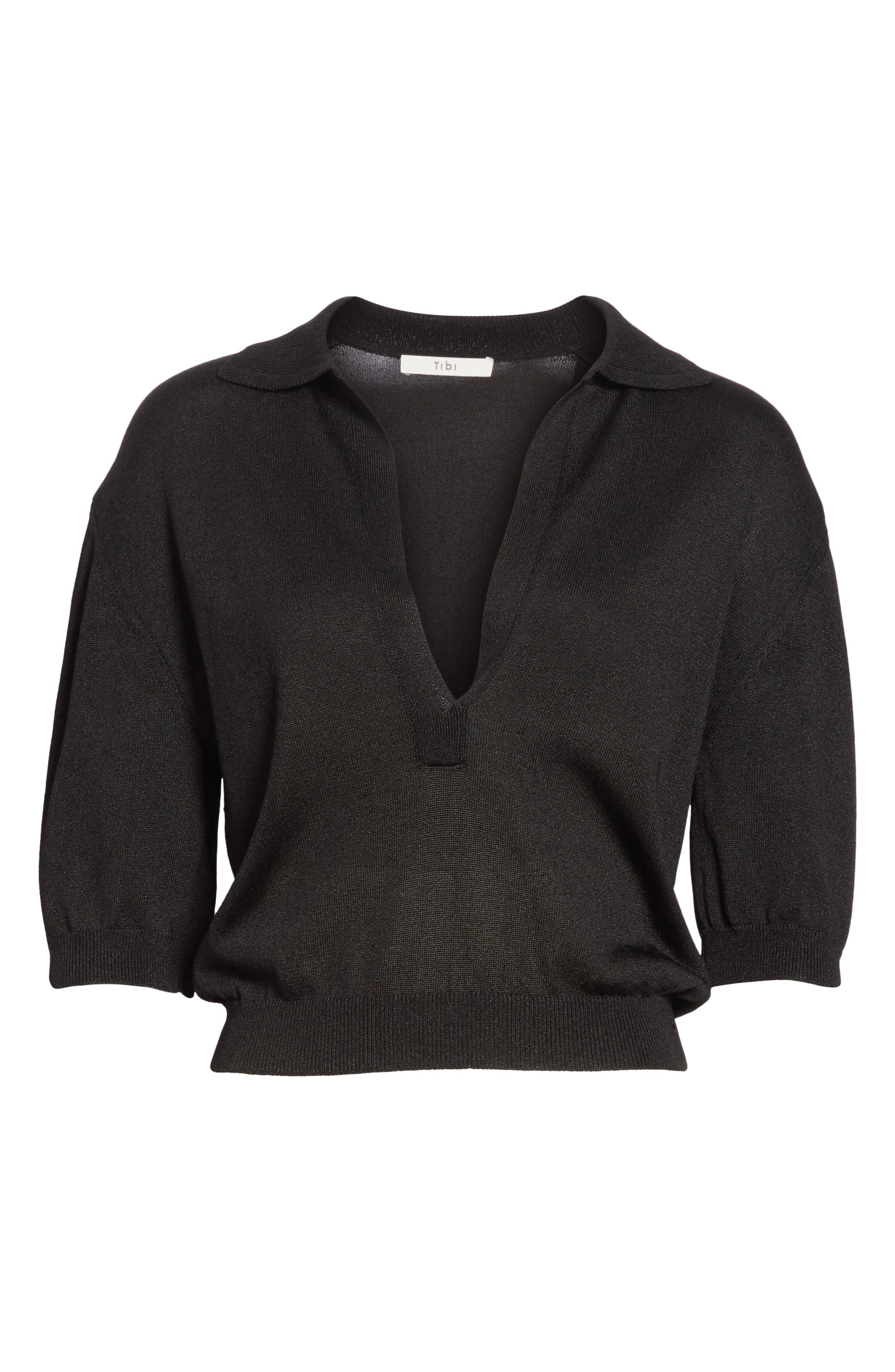 Crop Knit Pullover,                             Alternate thumbnail 7, color,                             Black