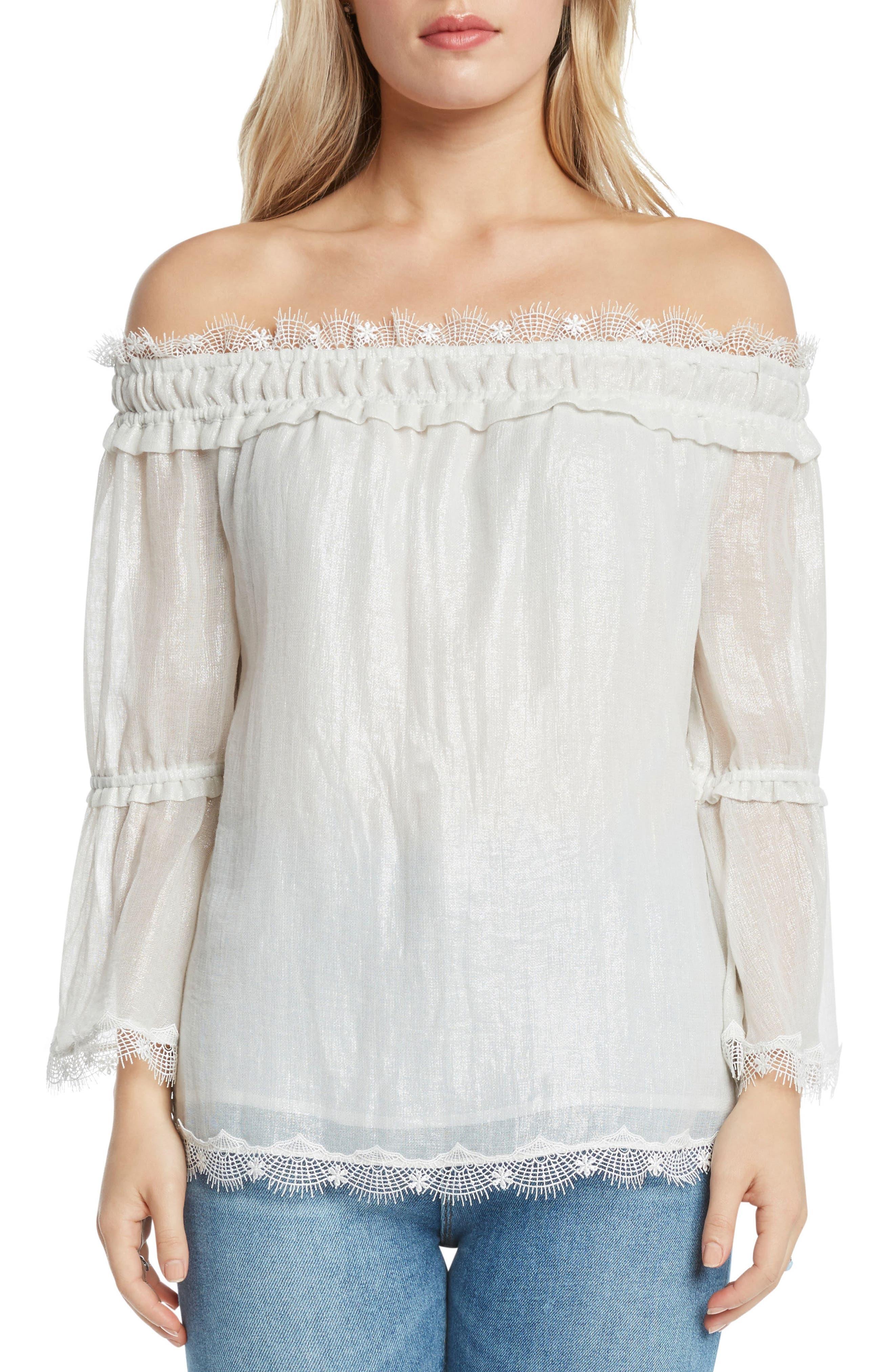 Lace Trim Foil Off the Shoulder Top,                             Main thumbnail 1, color,                             Ivory