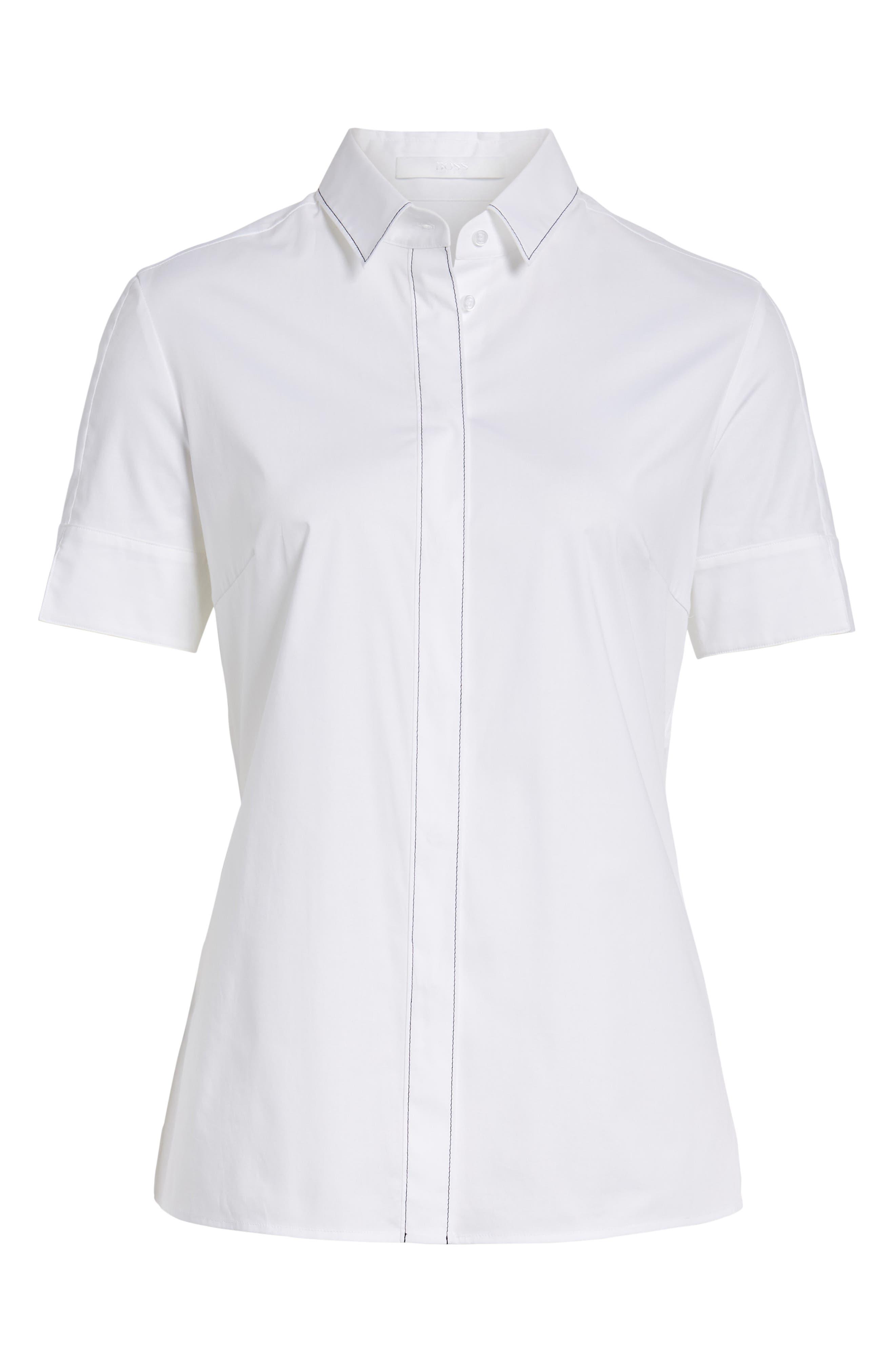 Balasera Stretch Cotton Blouse,                             Alternate thumbnail 7, color,                             White