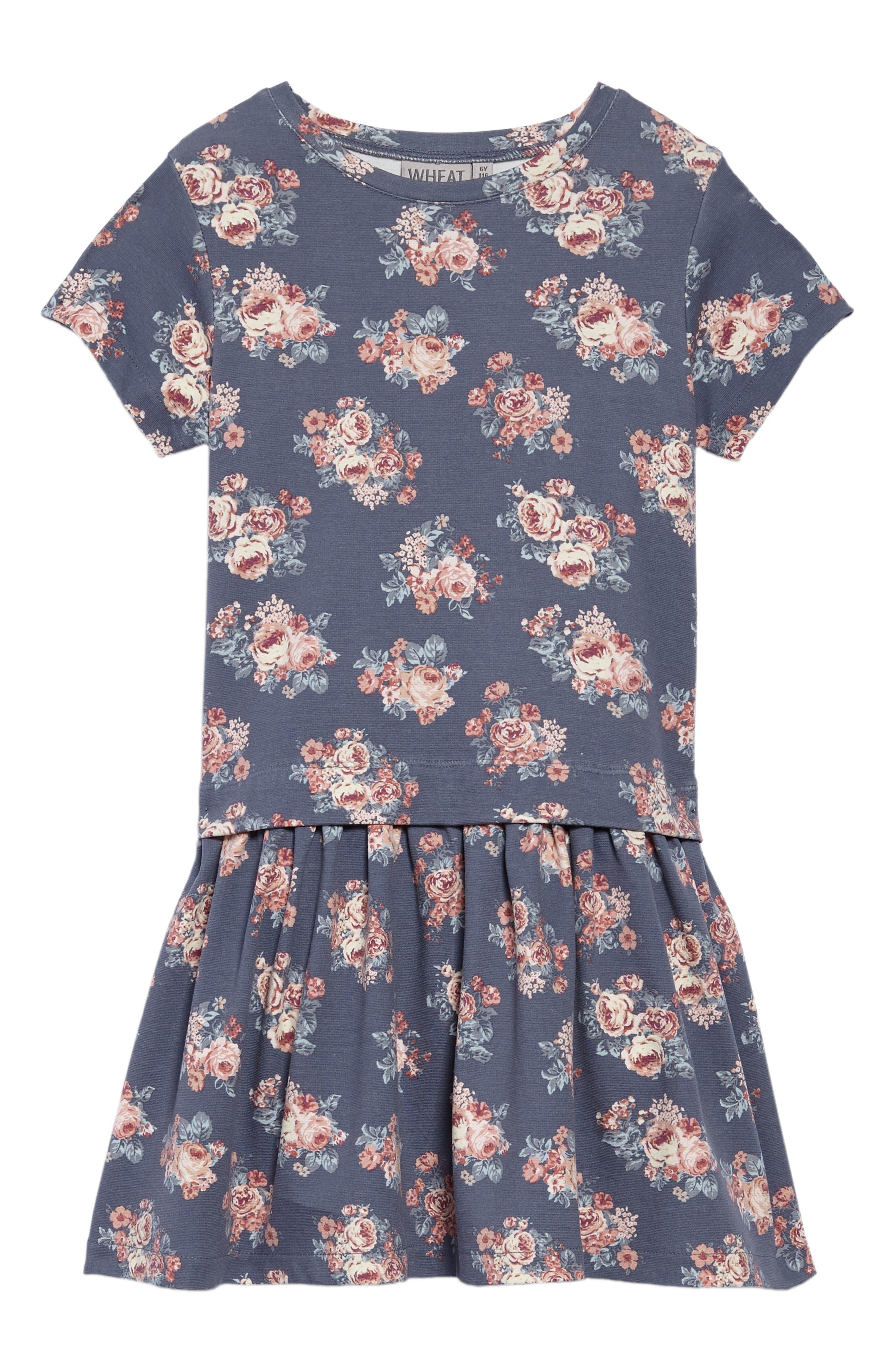 Michella Floral Print Dress,                             Main thumbnail 1, color,                             Grisaille