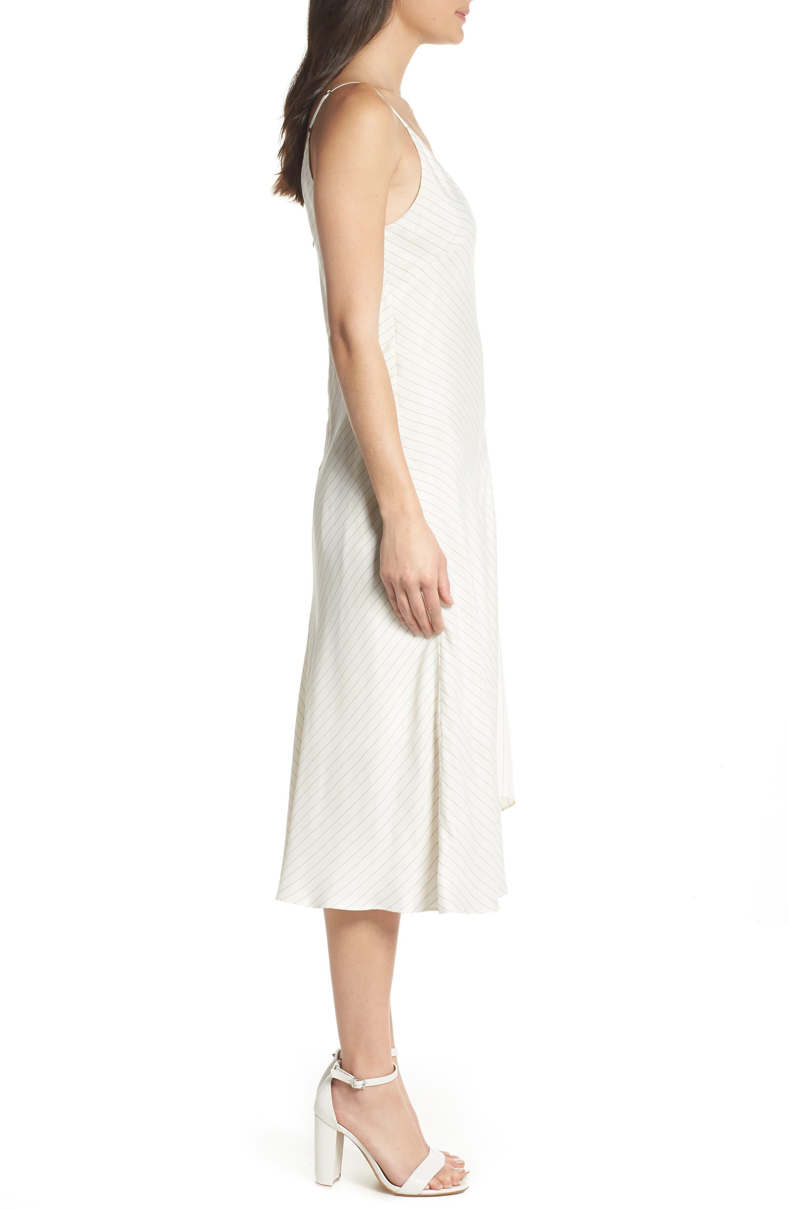 Bay Area Pinstripe Asymmetric Midi Dress,                             Alternate thumbnail 3, color,                             Cream