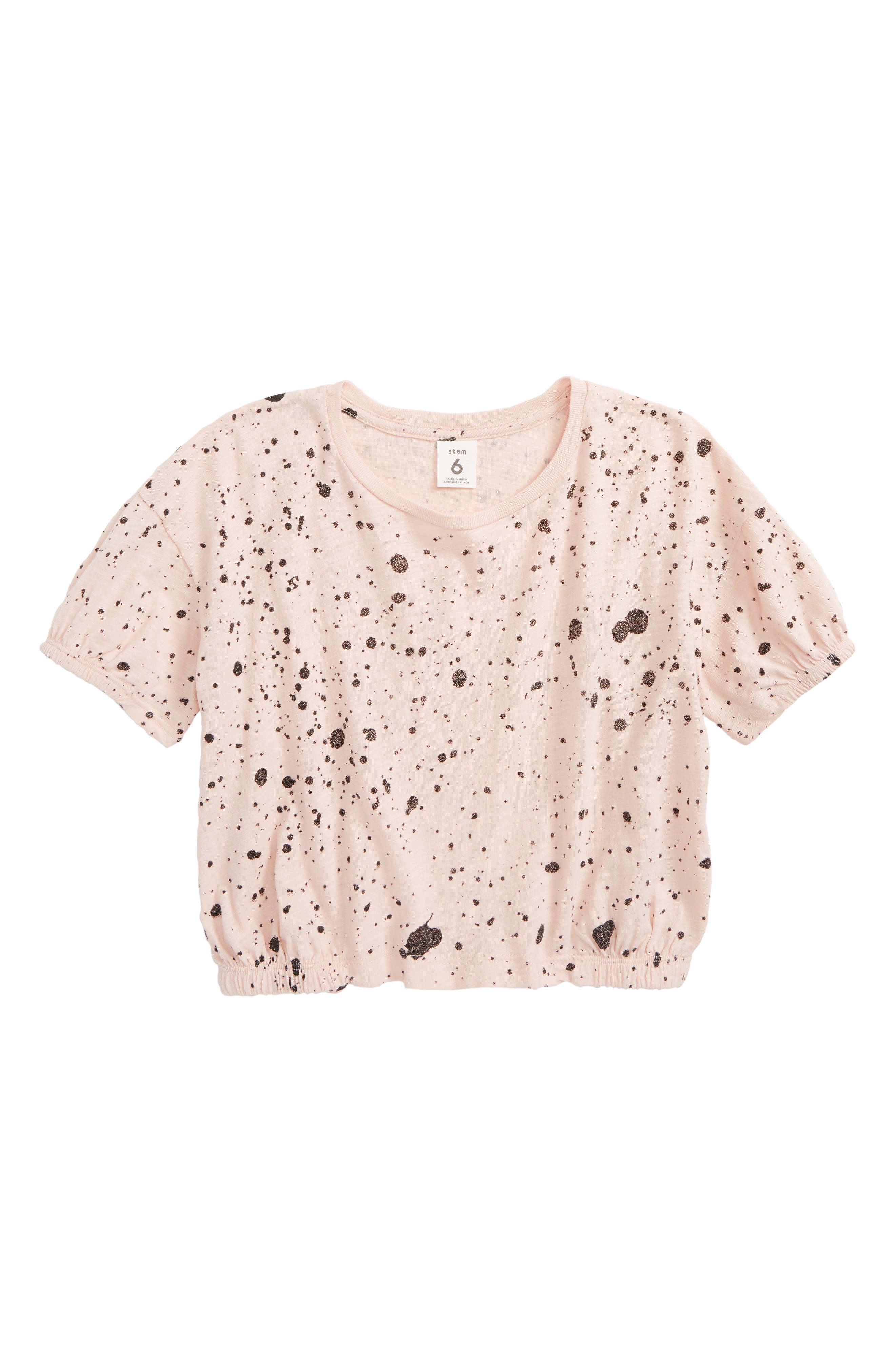 Gathered Sleeve Tee,                         Main,                         color, Pink Smoke Paint Splatter