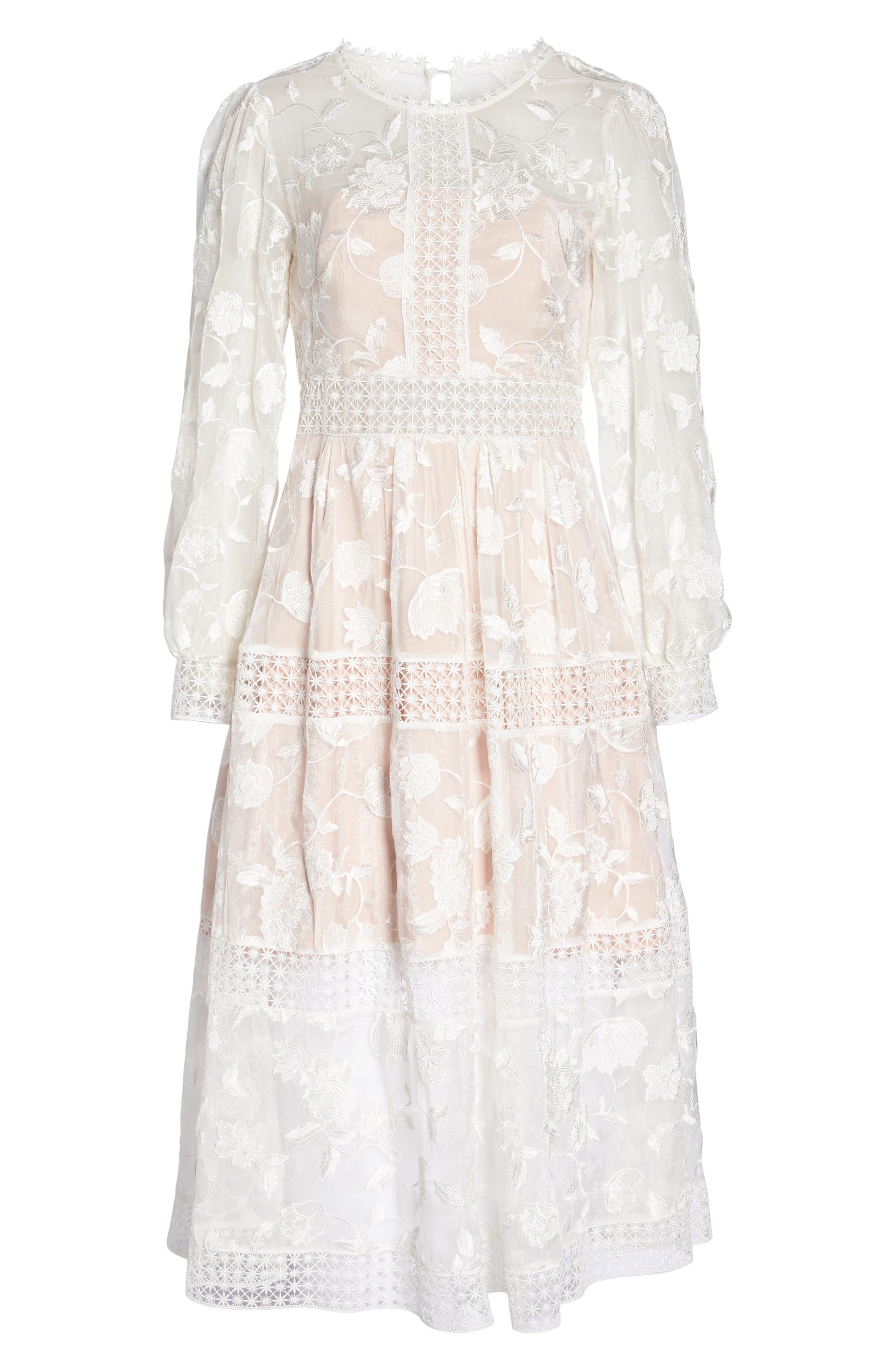 Floral Organza Tiered Midi Dress,                             Alternate thumbnail 7, color,                             Porcelain/ Pink