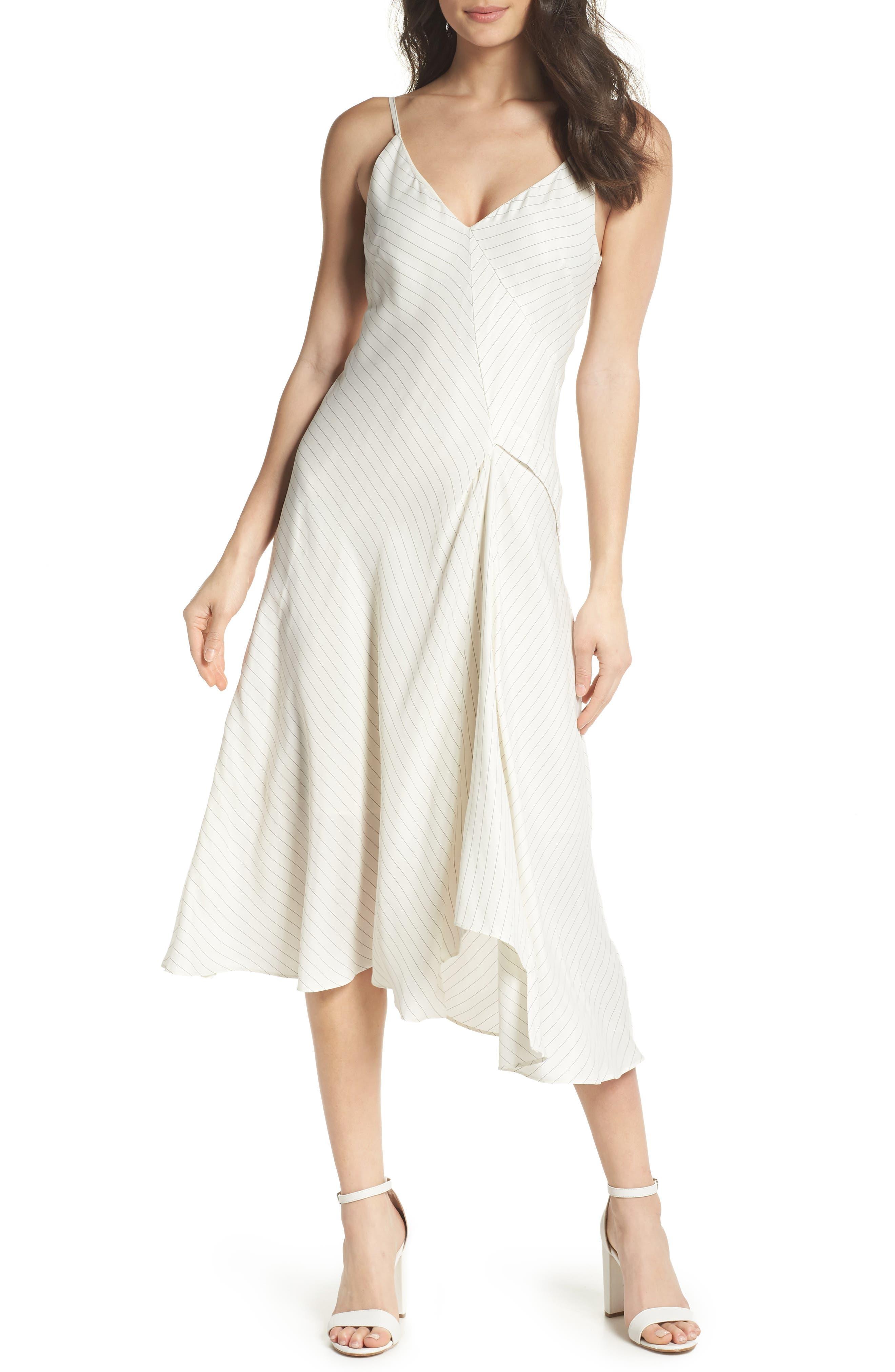 Bay Area Pinstripe Asymmetric Midi Dress,                             Main thumbnail 1, color,                             Cream