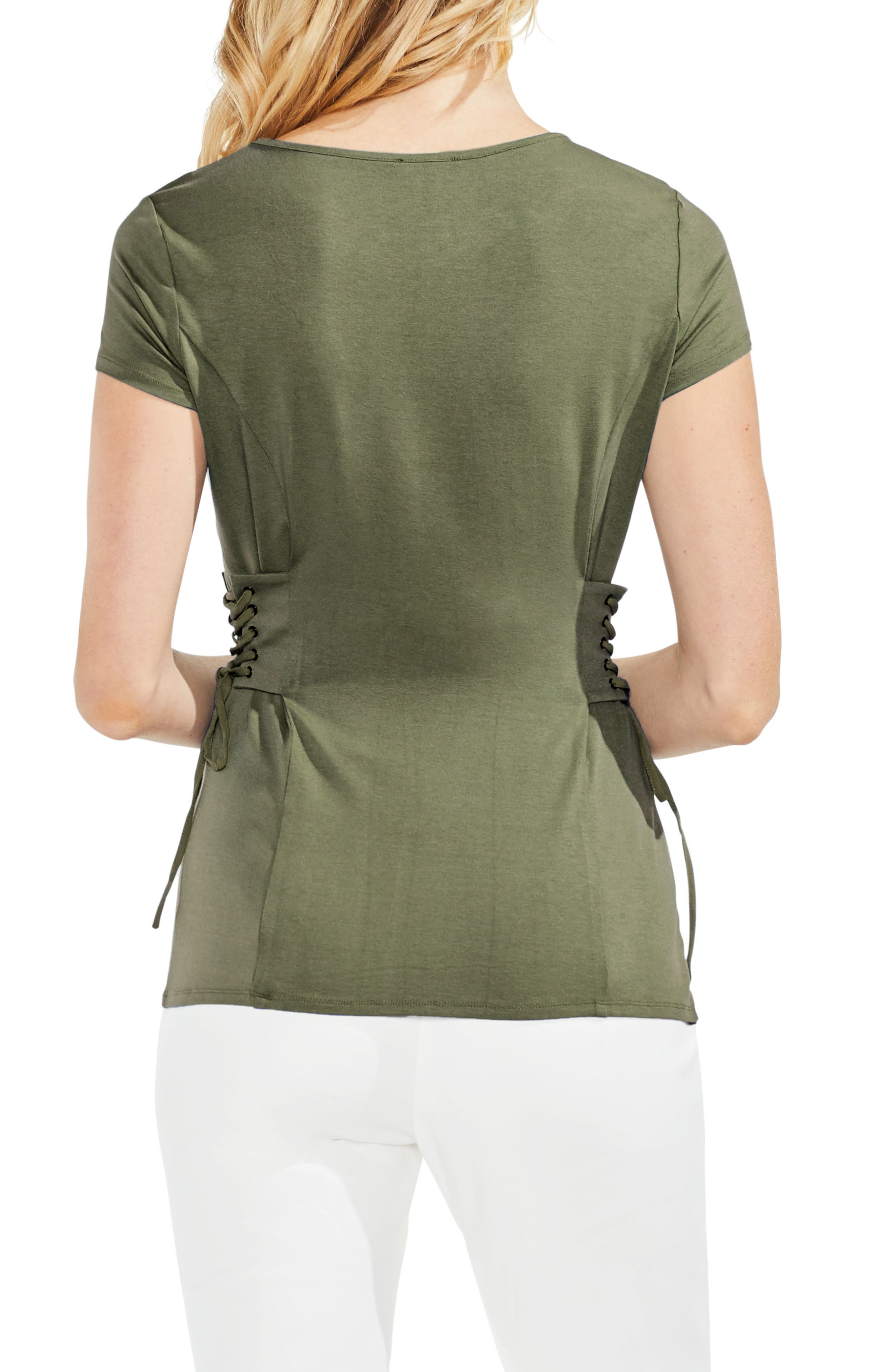 Side Lace-Up Top,                             Alternate thumbnail 2, color,                             Camo Green