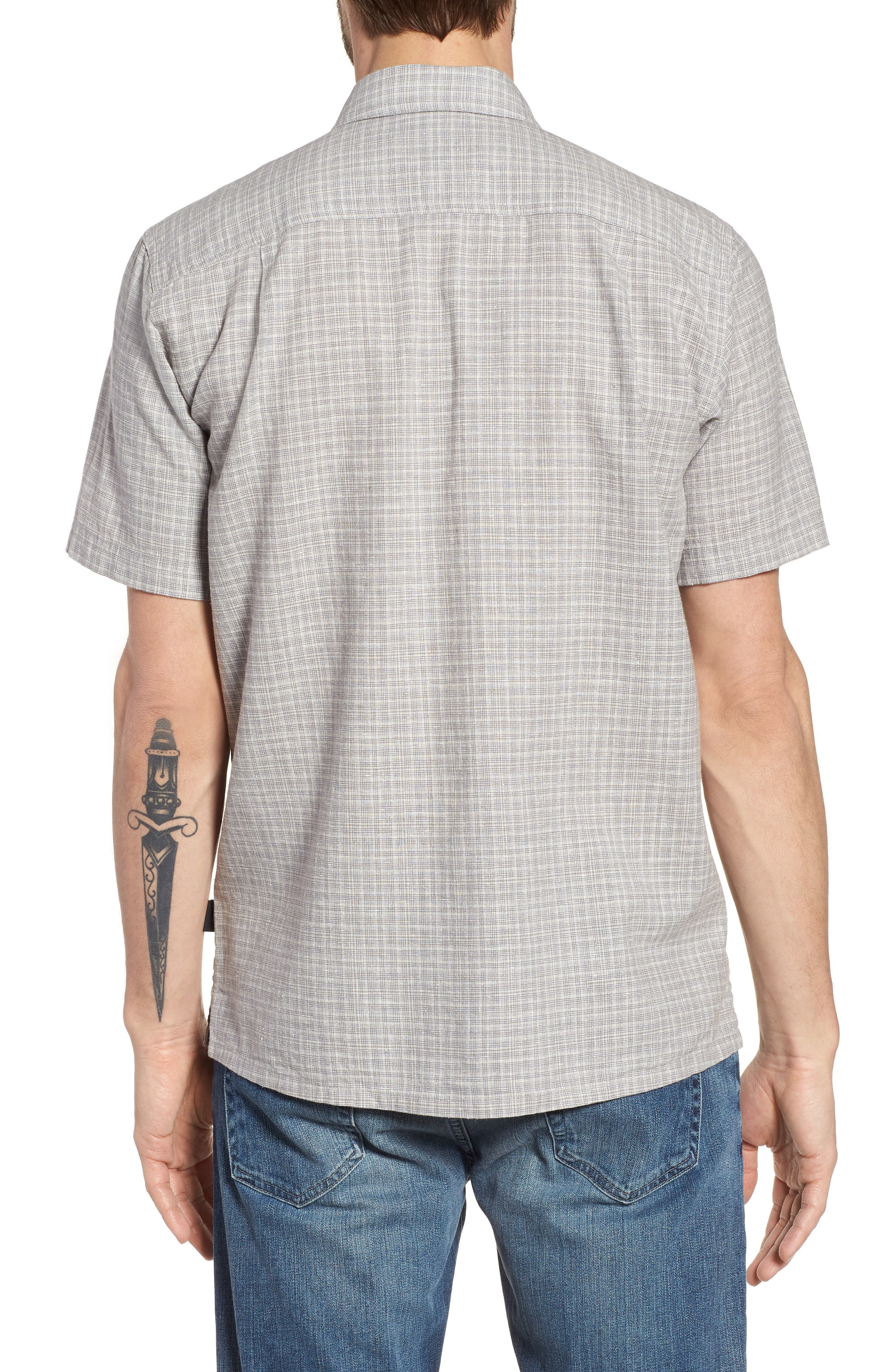'Back Step' Regular Fit Check Short Sleeve Sport Shirt,                             Alternate thumbnail 3, color,                             Tino/ Feather Grey