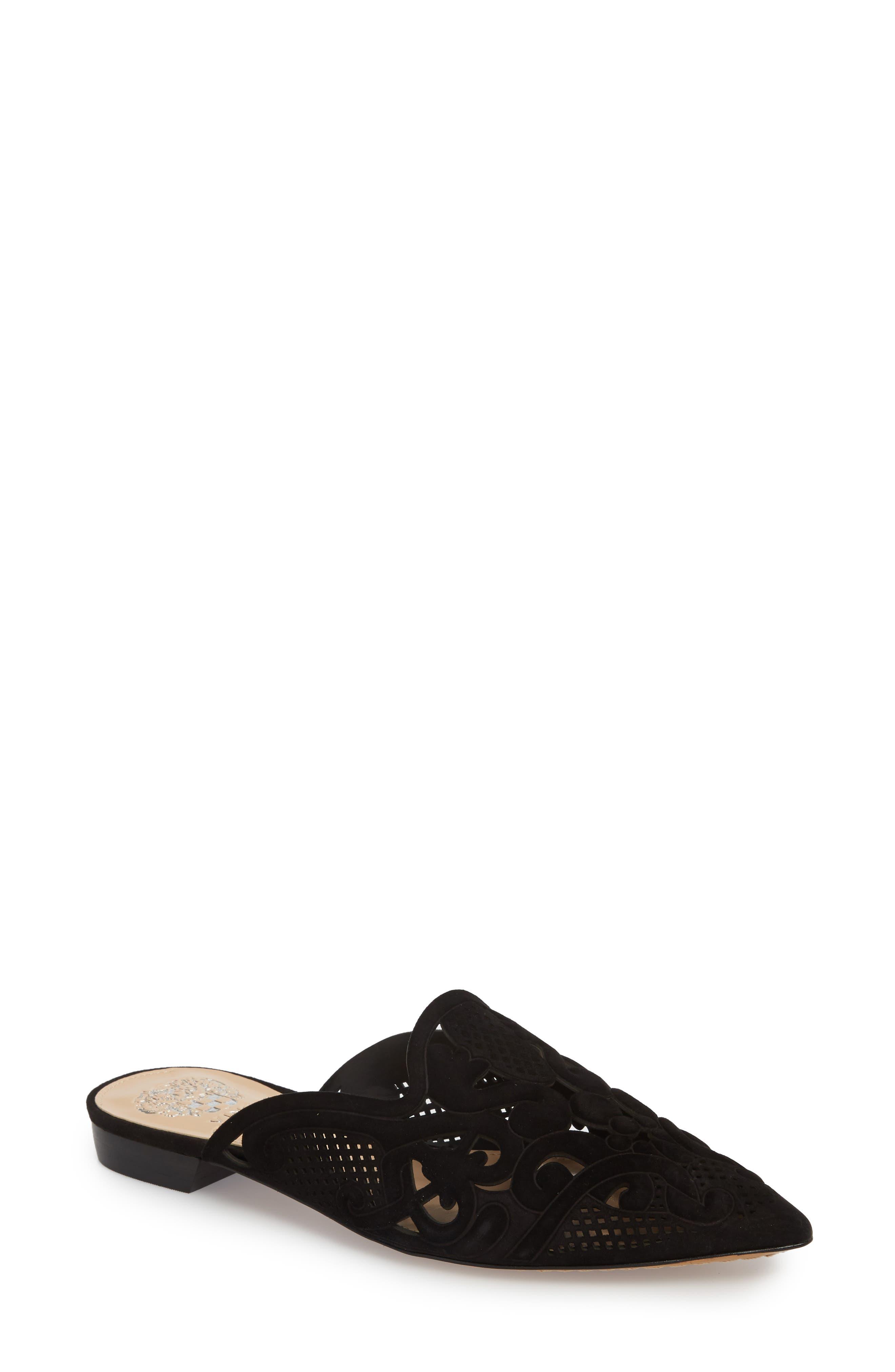 Meekel Pointy Toe Mule,                         Main,                         color, Black Suede