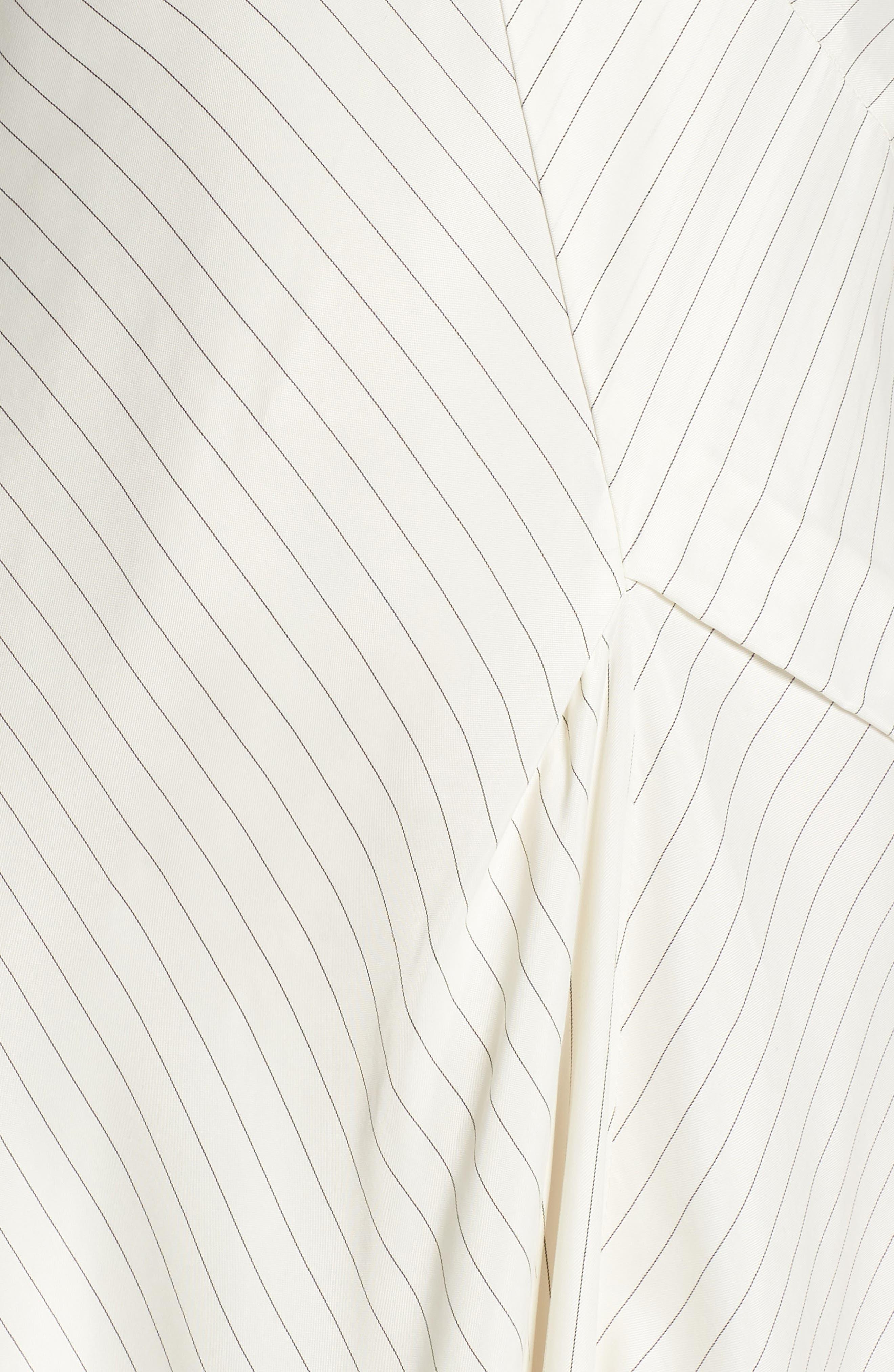Bay Area Pinstripe Asymmetric Midi Dress,                             Alternate thumbnail 6, color,                             Cream