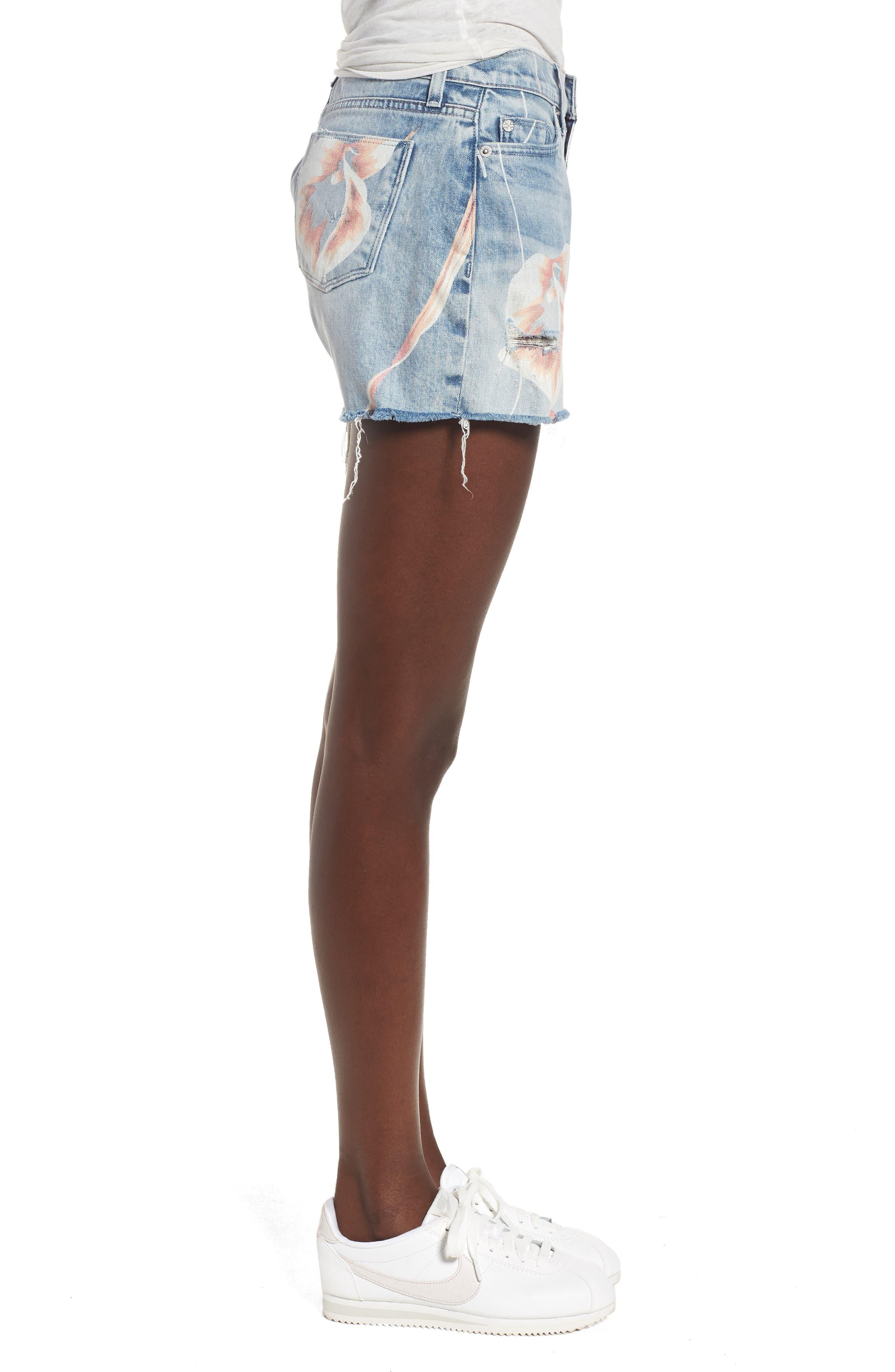 Valeri Painted Denim Shorts,                             Alternate thumbnail 3, color,                             In Bloom