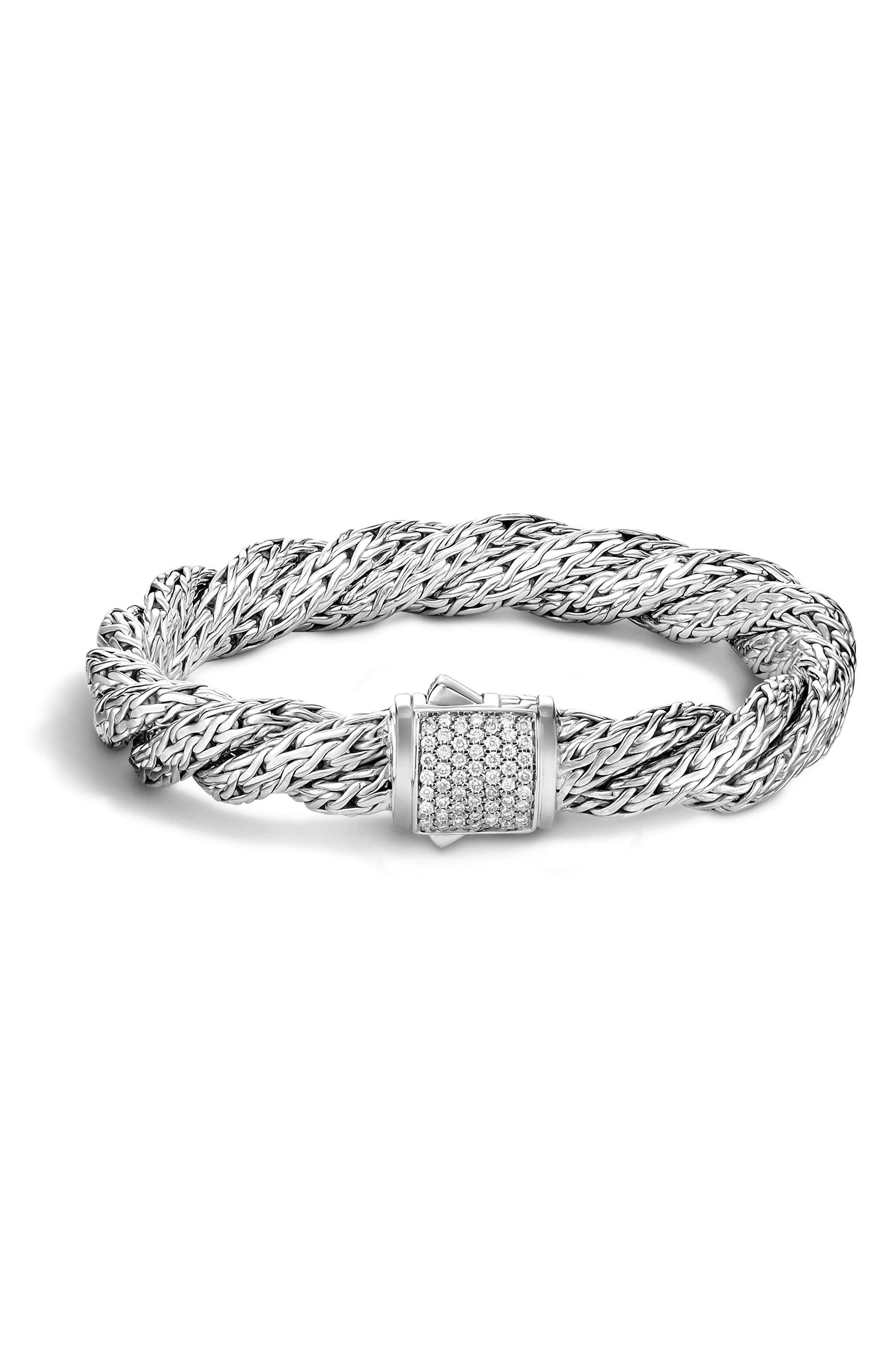 Twist Chain Pavé Diamond Bracelet,                         Main,                         color, Silver/ Diamond