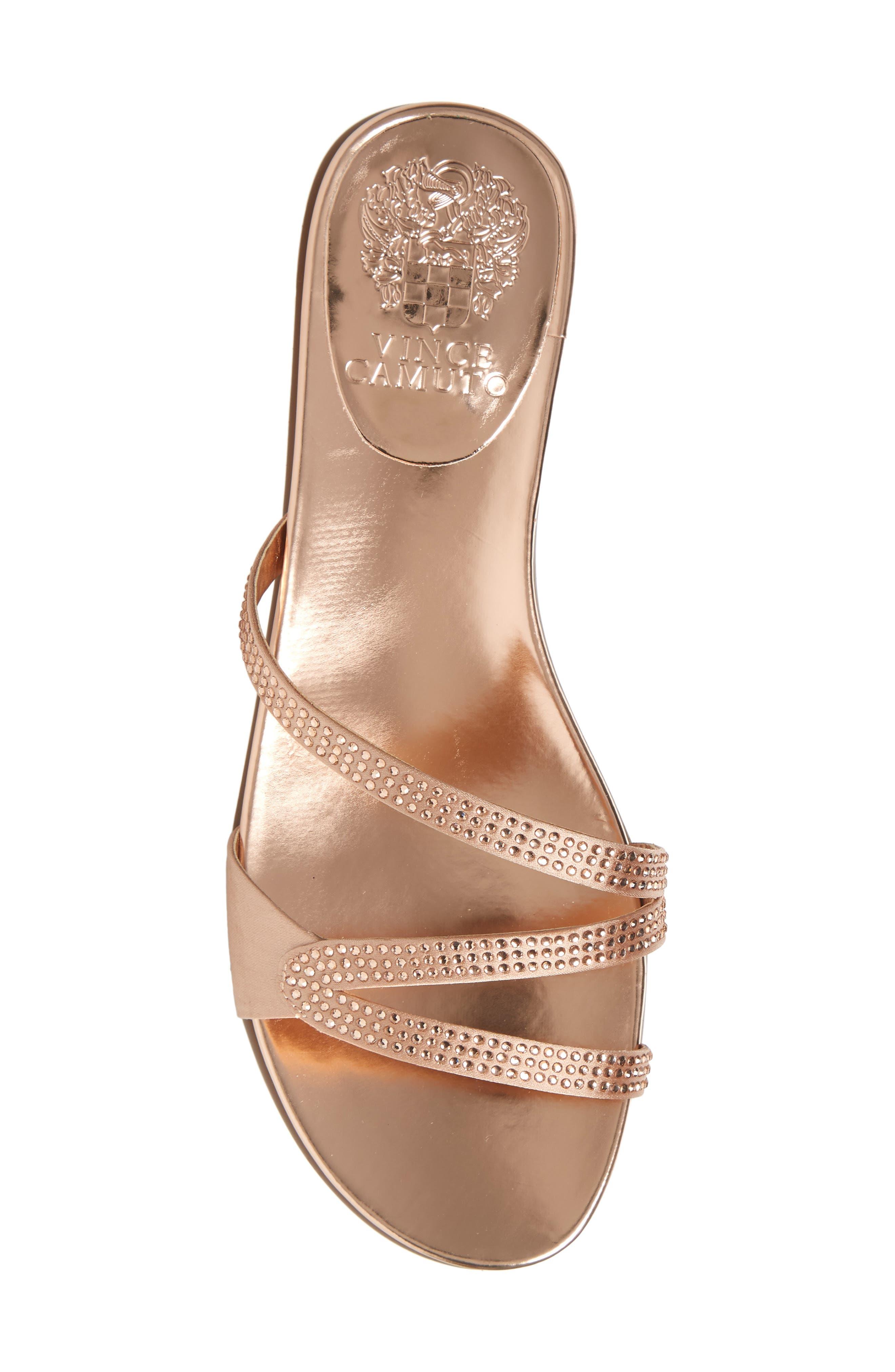 Elouisa Crystal Slide Sandal,                             Alternate thumbnail 5, color,                             Pink Bisque Satin