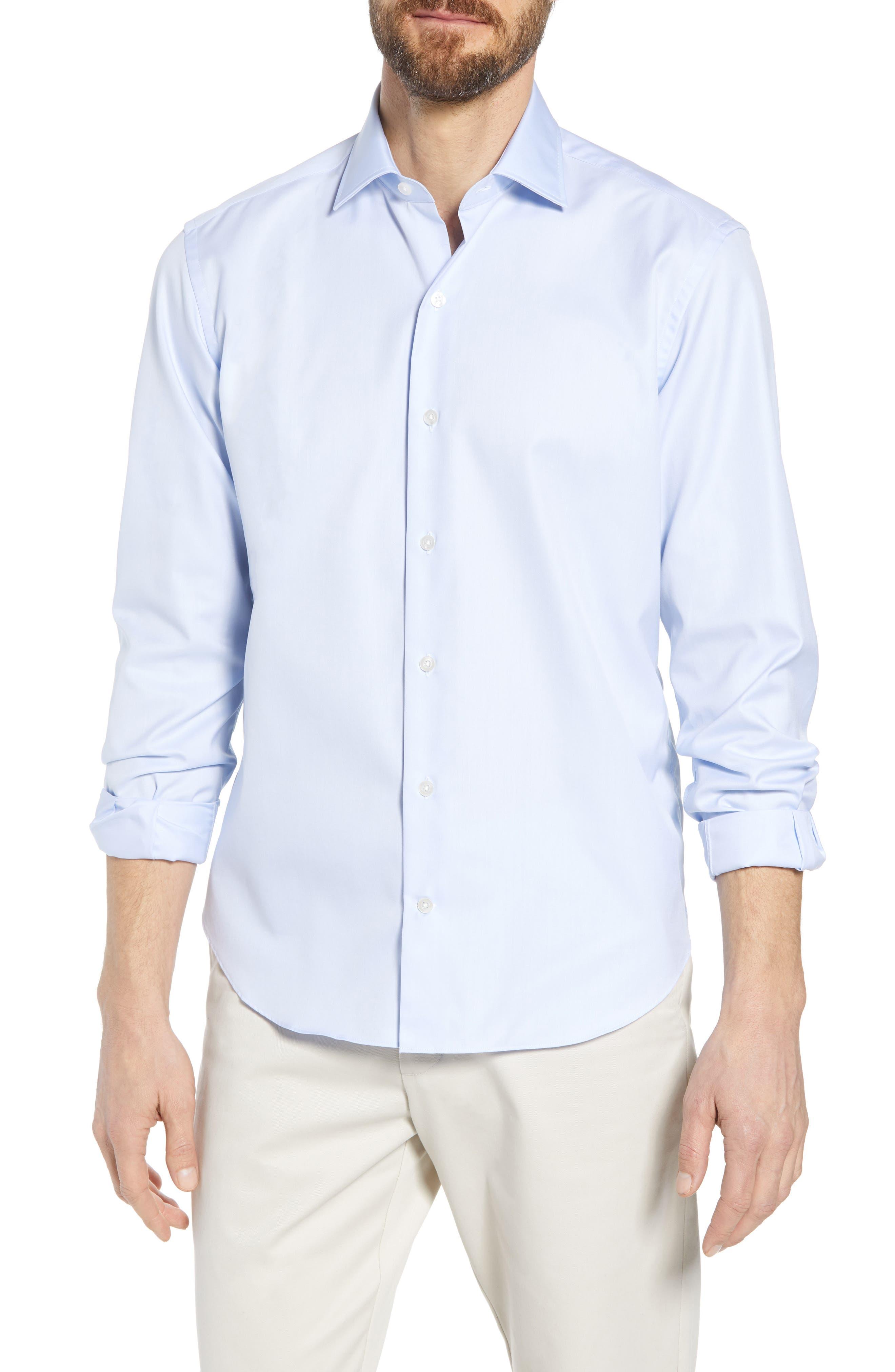 Crease Free Extra Soft Sport Shirt,                             Main thumbnail 1, color,                             Blue