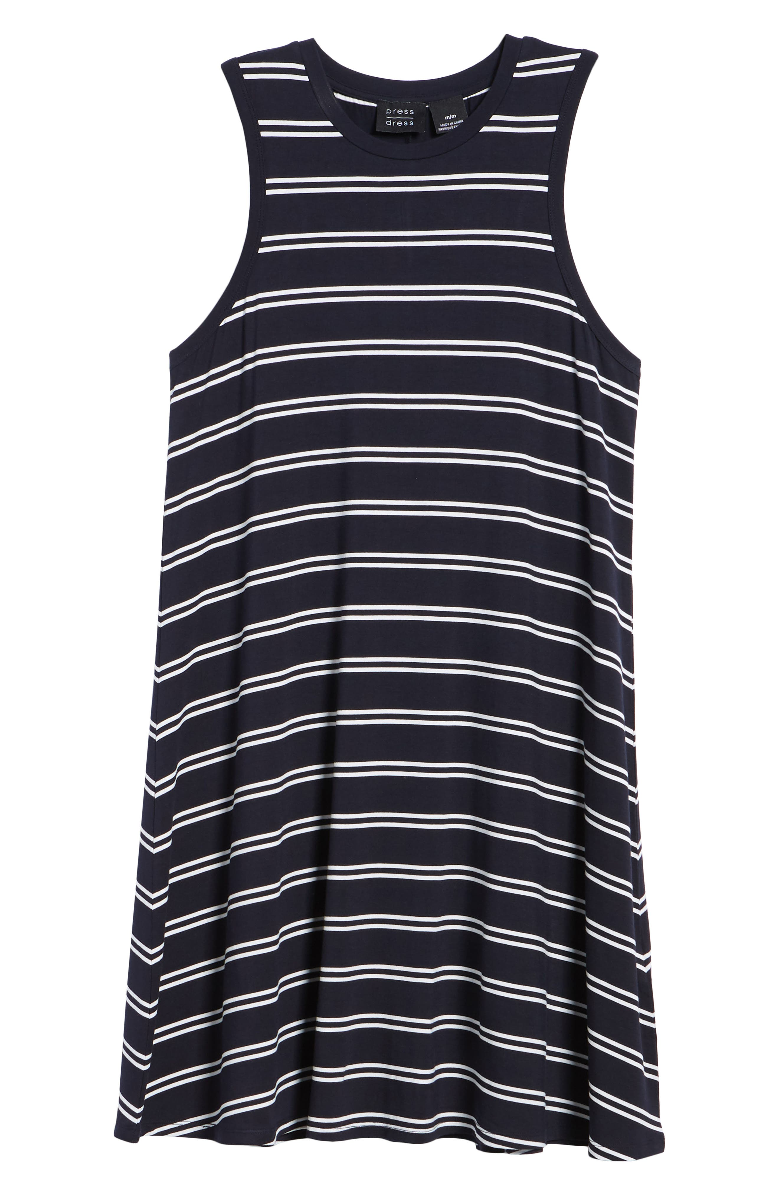 Stripe Tank Dress,                             Alternate thumbnail 7, color,                             Deepest Navy White
