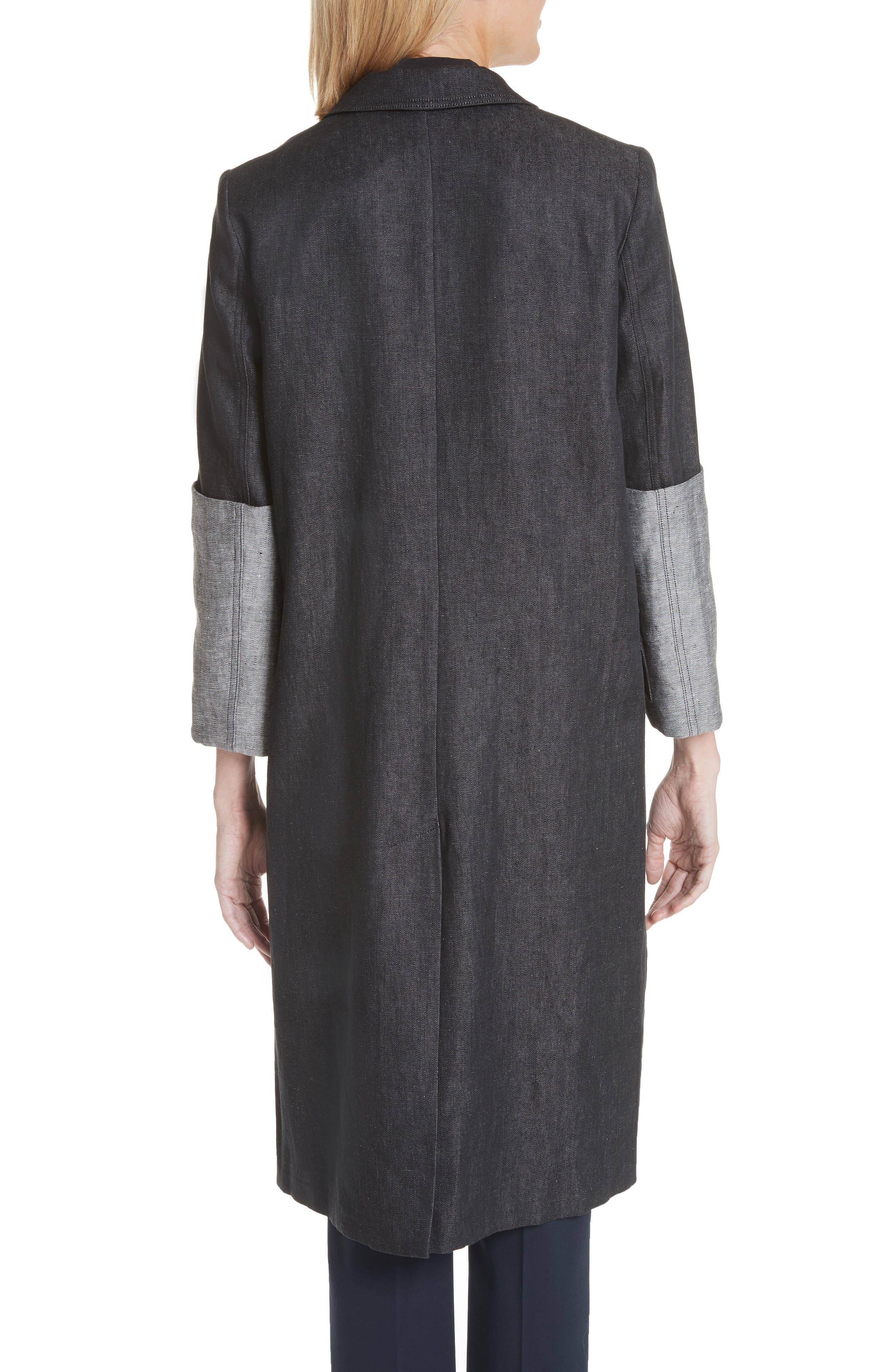 Cannone Linen Coat,                             Alternate thumbnail 2, color,                             Black