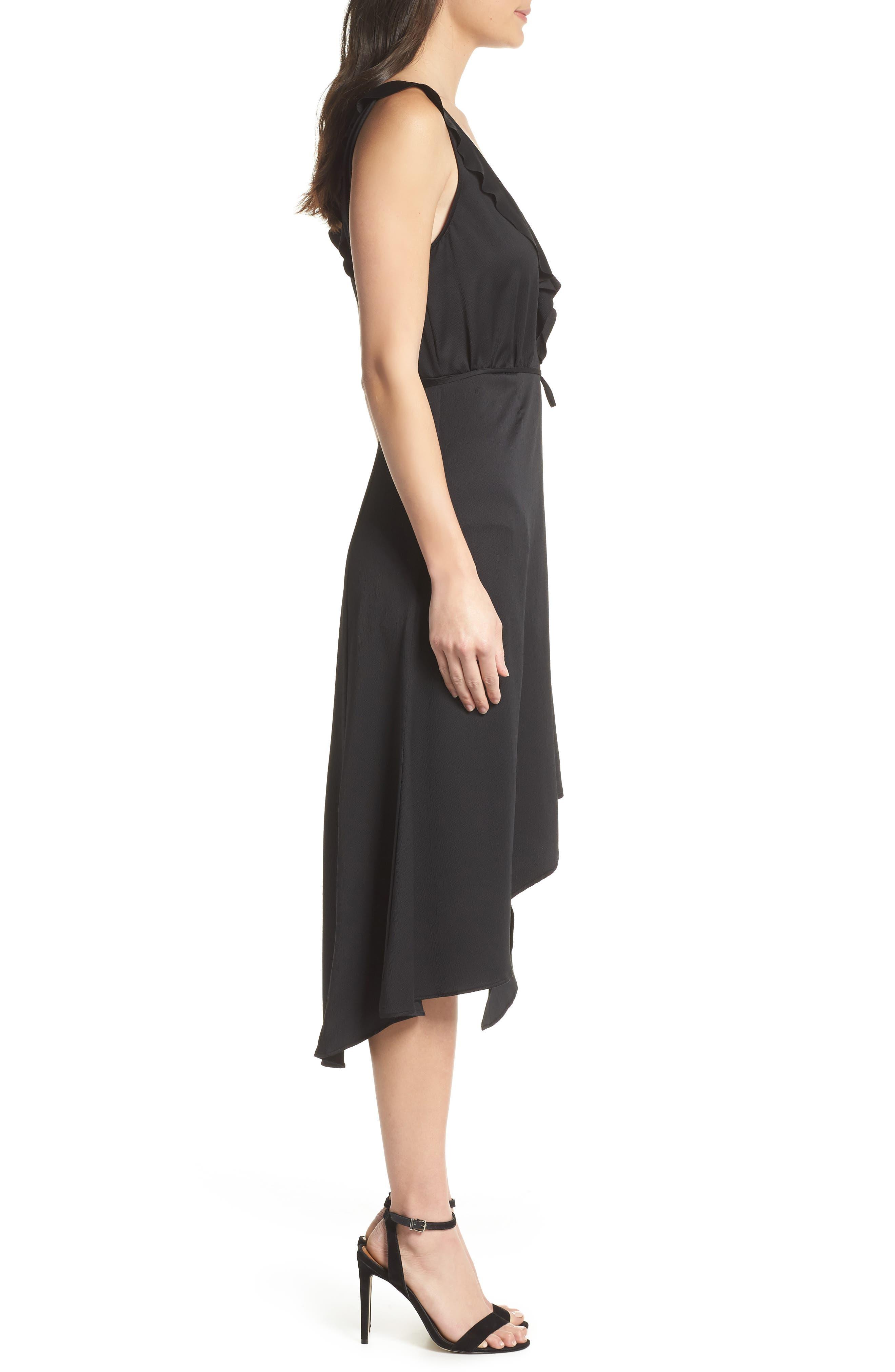 Maudie Ruffle Midi Dress,                             Alternate thumbnail 3, color,                             Black