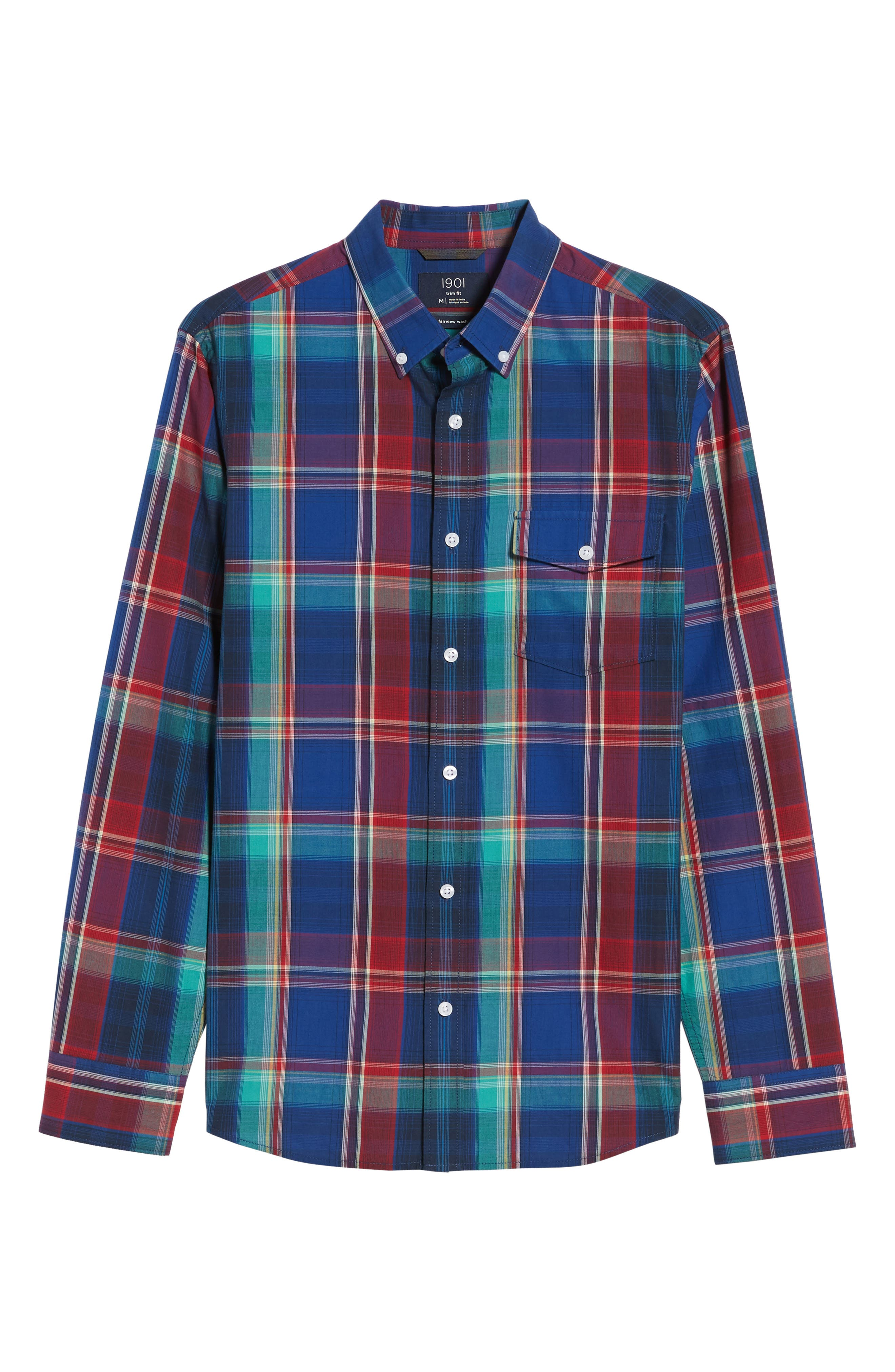 Ivy Trim Fit Madras Plaid Sport Shirt,                             Alternate thumbnail 6, color,                             Navy Red Fine Line Plaid