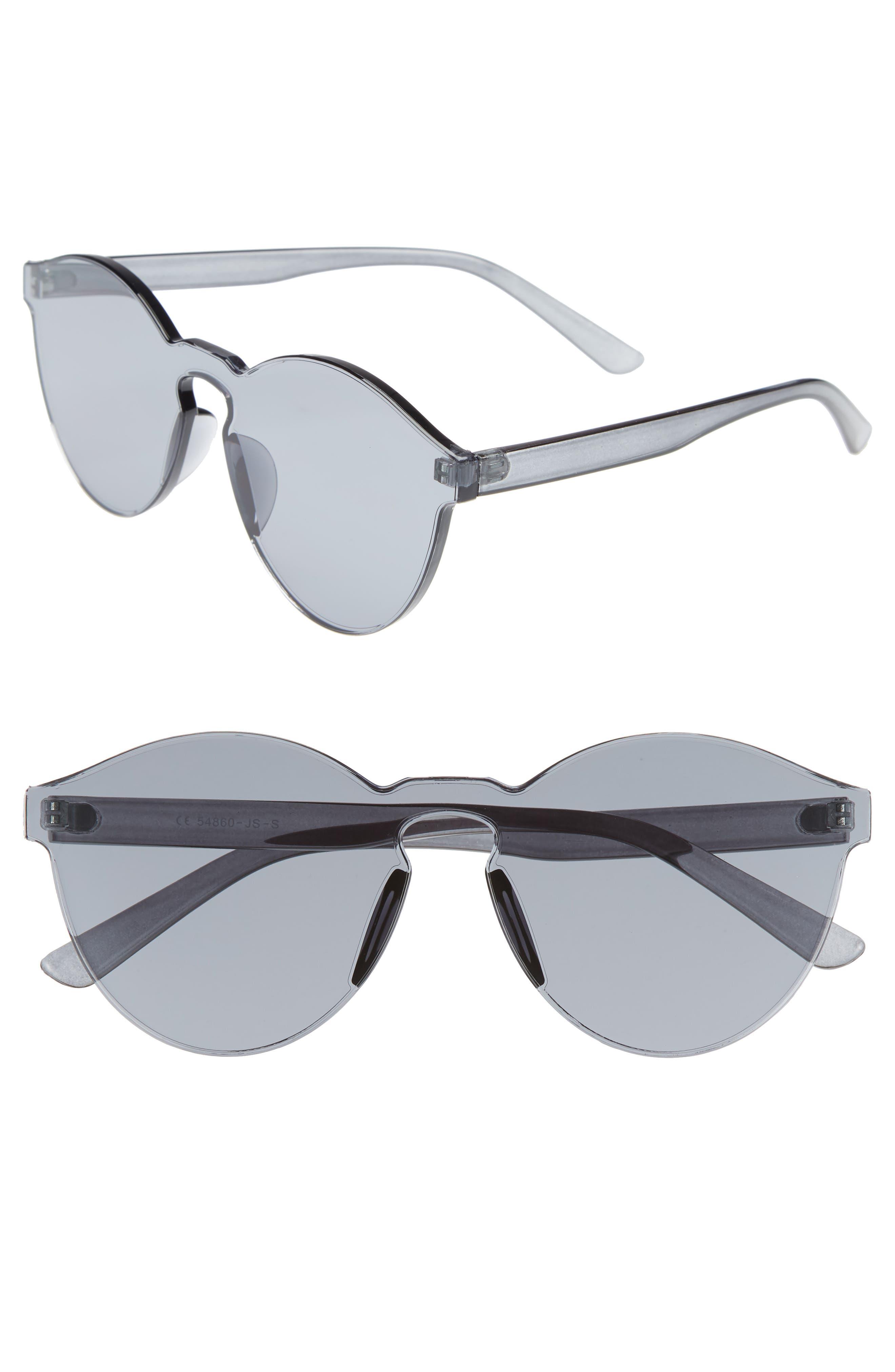56mm Rimless Round Sunglasses,                         Main,                         color, Black