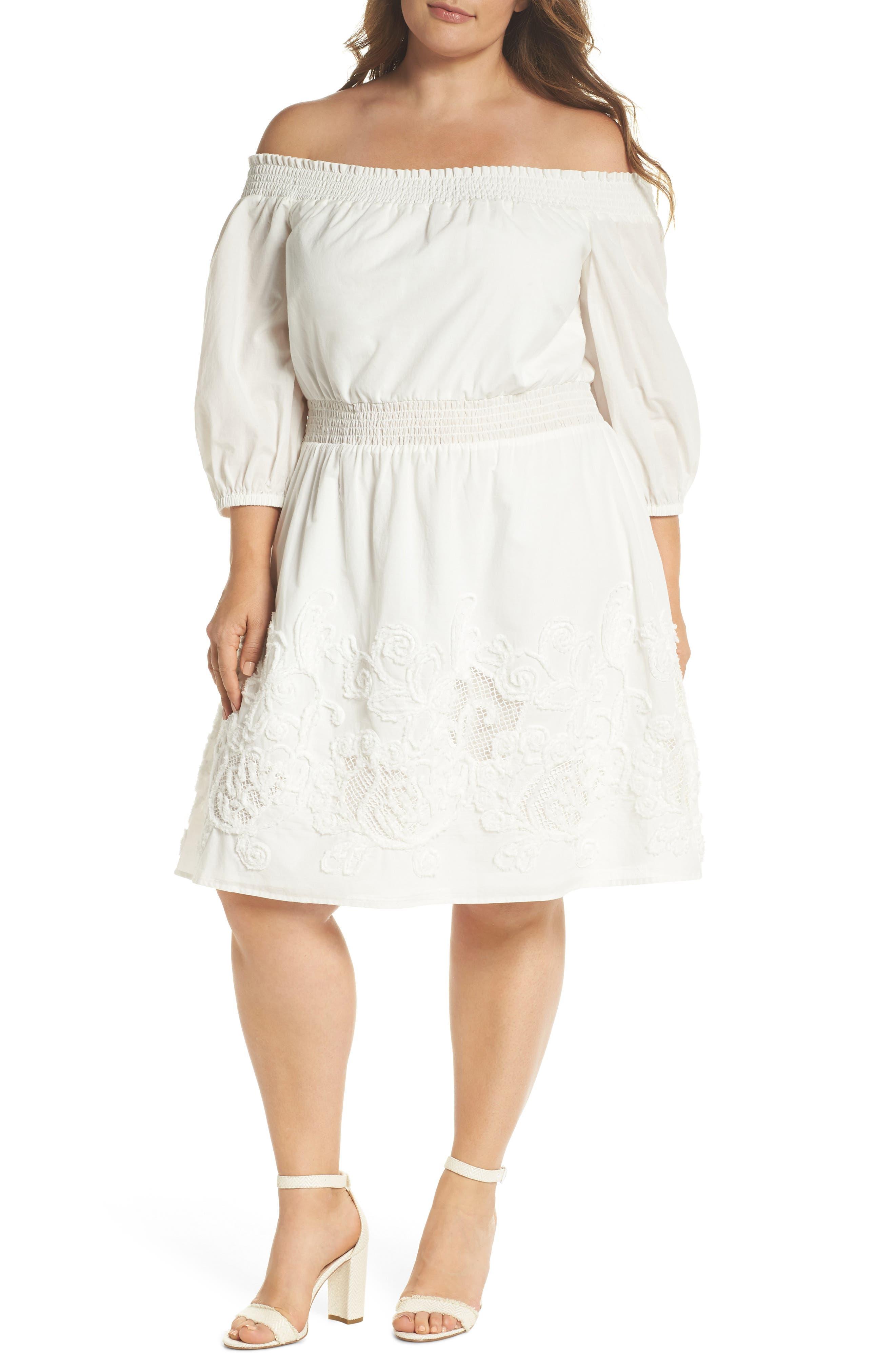 Off the Shoulder Peasant Dress,                             Main thumbnail 1, color,                             White Snow