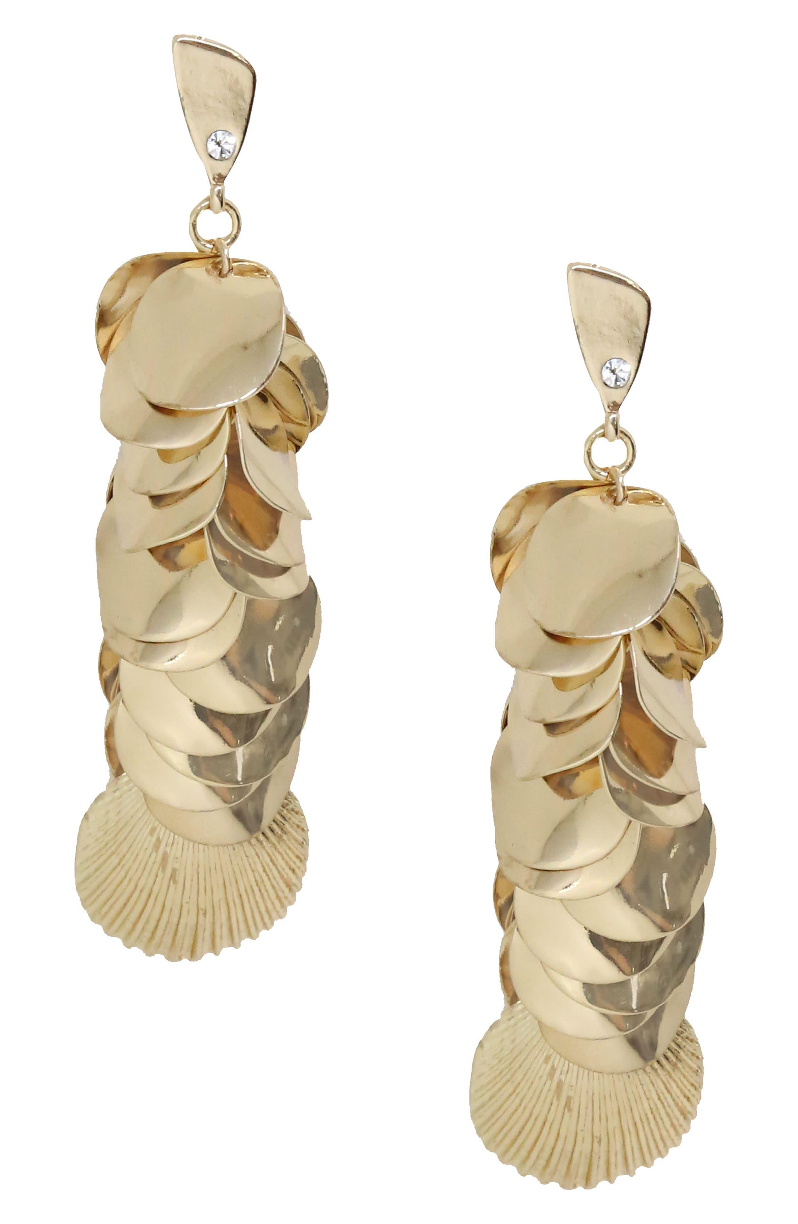 Shell Disc Earrings,                             Main thumbnail 1, color,                             Gold
