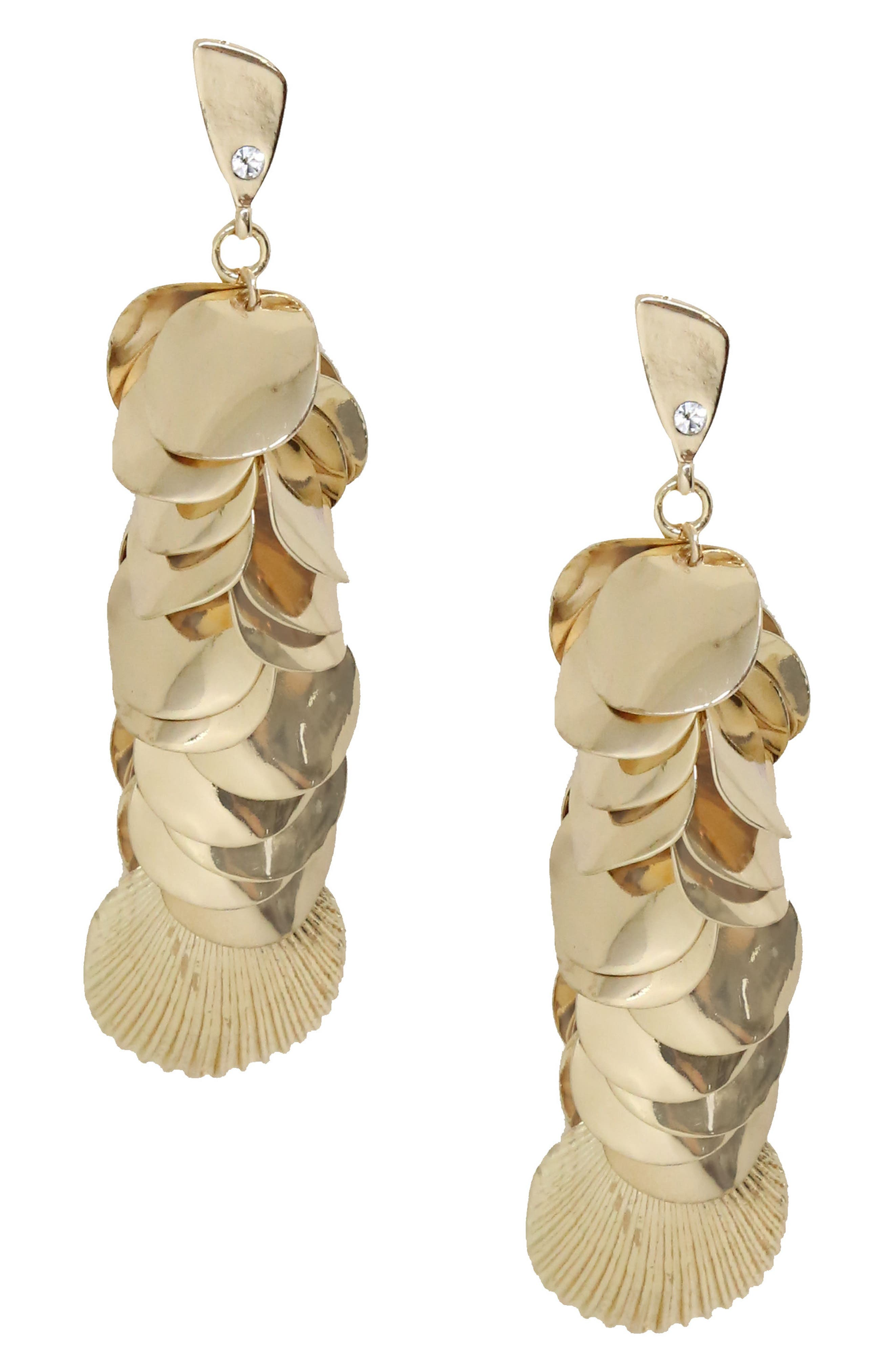 Shell Disc Earrings,                         Main,                         color, Gold