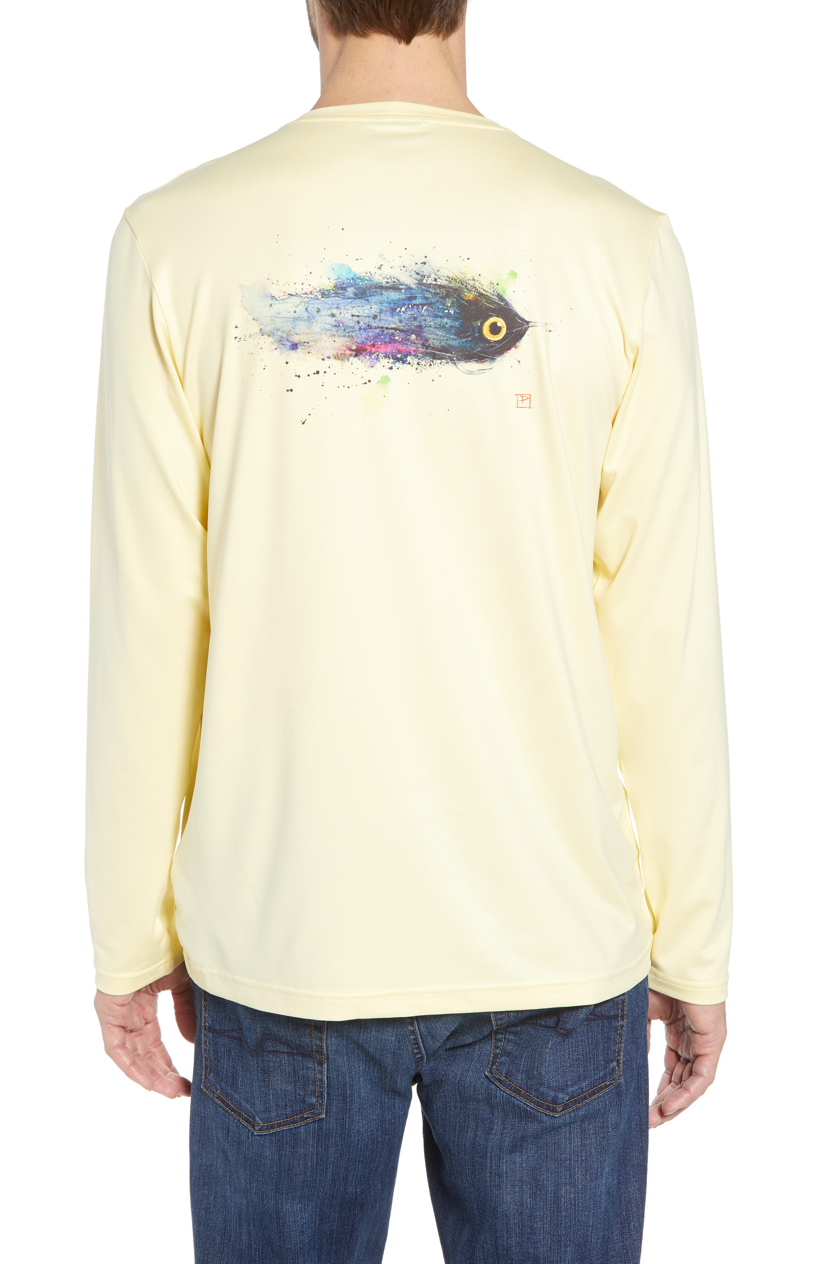 Tech Fish Graphic Long Sleeve T-Shirt,                             Alternate thumbnail 2, color,                             Lucky Fly/ Crest Yellow