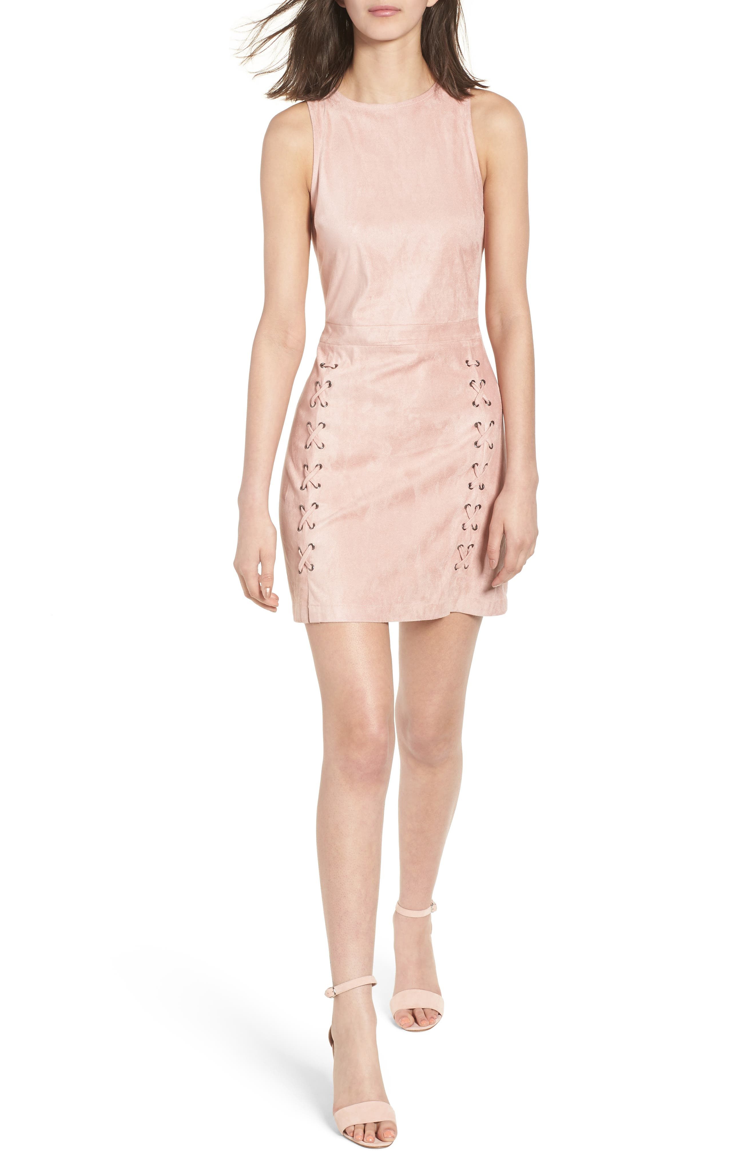 Daton Faux Suede Dress,                             Main thumbnail 1, color,                             Nude Pink