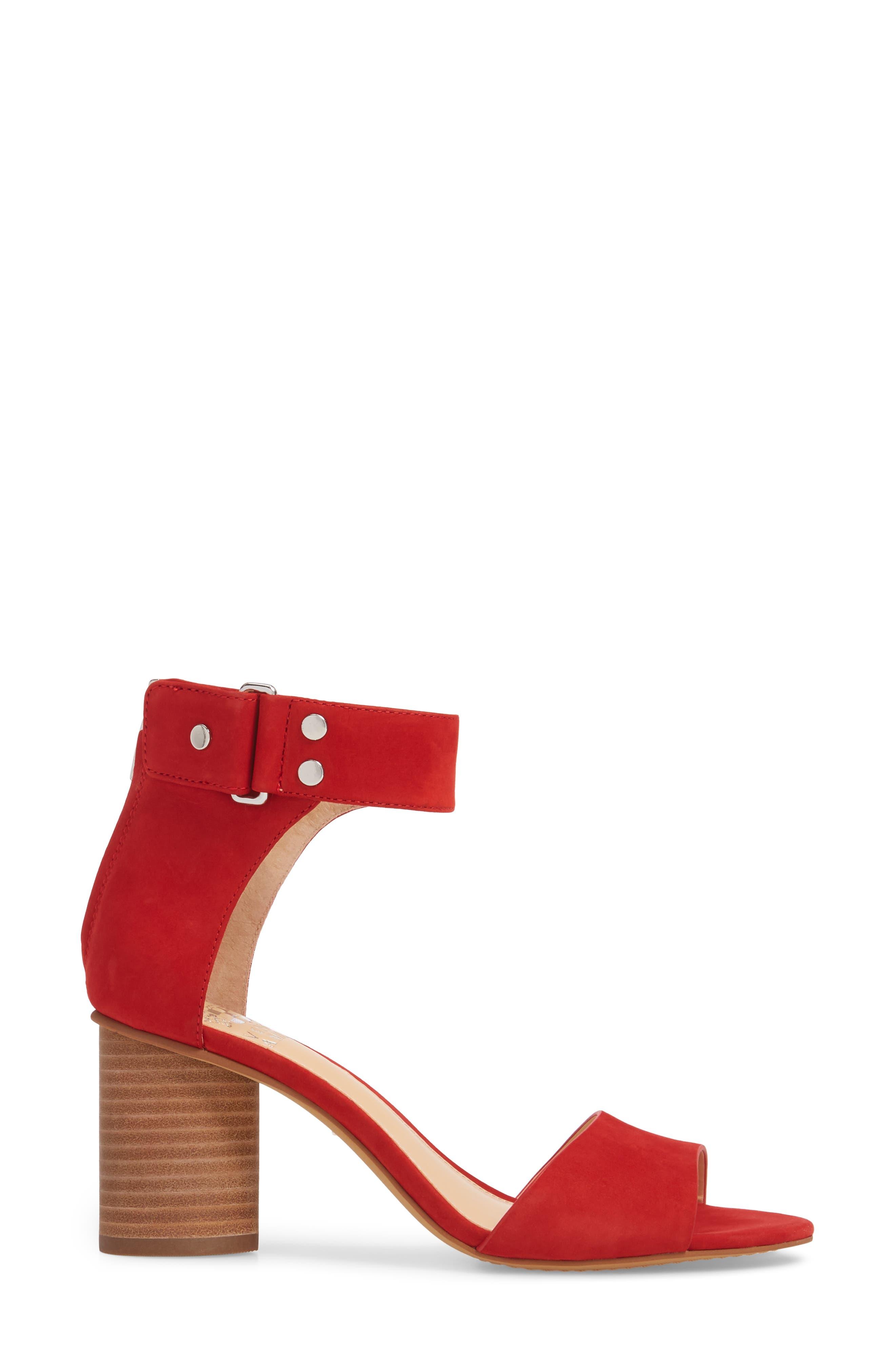 Jannali Ankle Strap Sandal,                             Alternate thumbnail 3, color,                             Cherry Red Leather